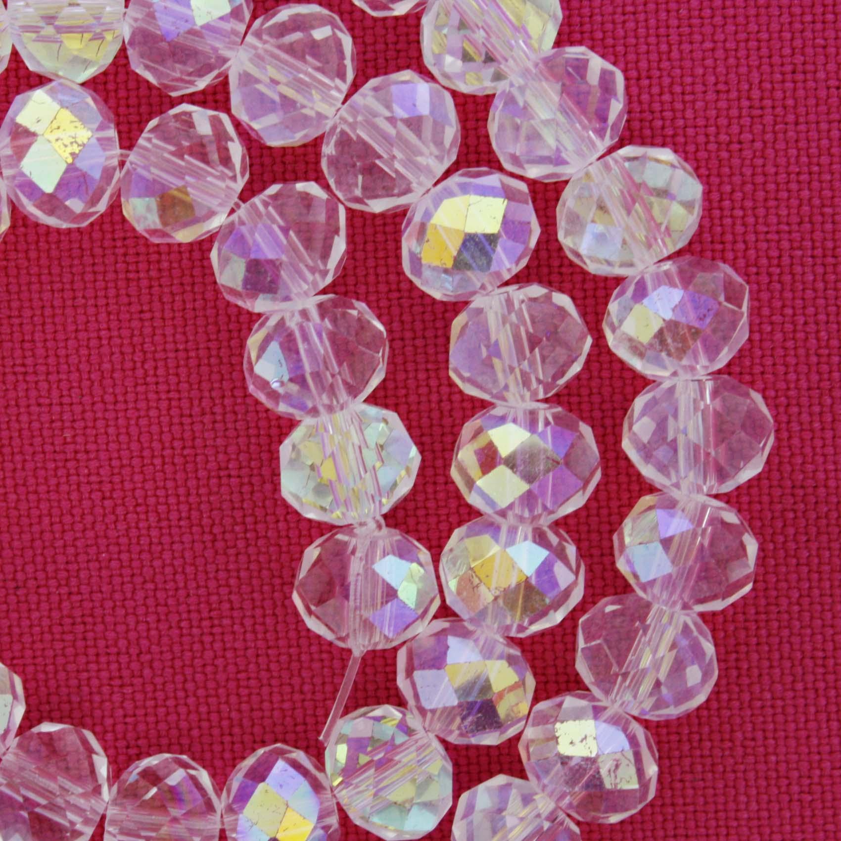 Fio de Cristal - Flat® - Transparente Irizado - 8mm  - Stéphanie Bijoux® - Peças para Bijuterias e Artesanato