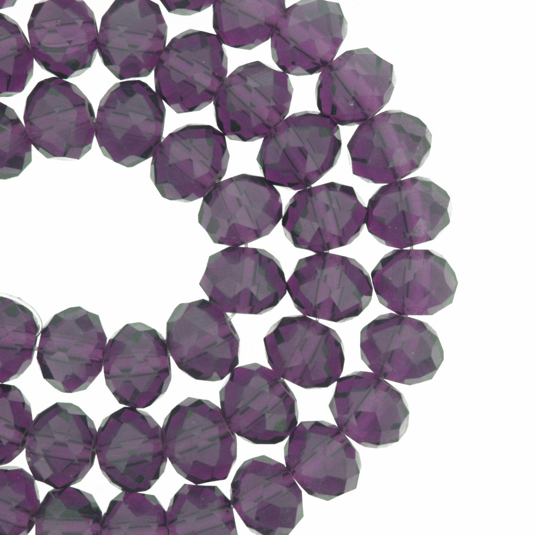 Fio de Cristal - Flat® - Uva Transparente - 8mm  - Stéphanie Bijoux® - Peças para Bijuterias e Artesanato
