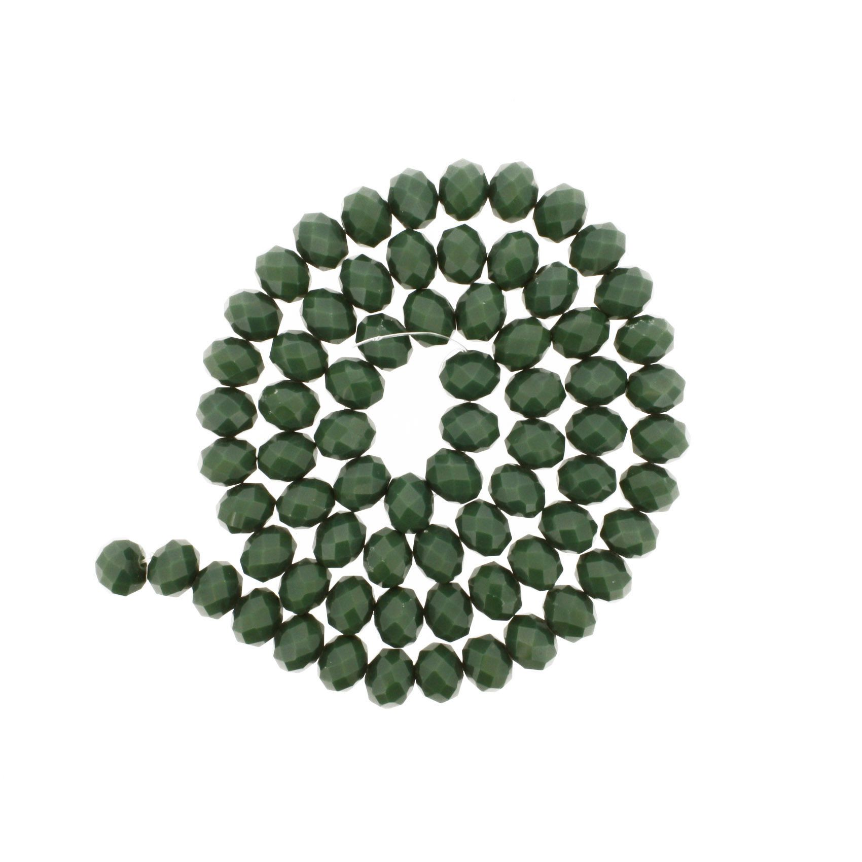 Fio de Cristal - Flat® - Verde - 10mm  - Stéphanie Bijoux® - Peças para Bijuterias e Artesanato