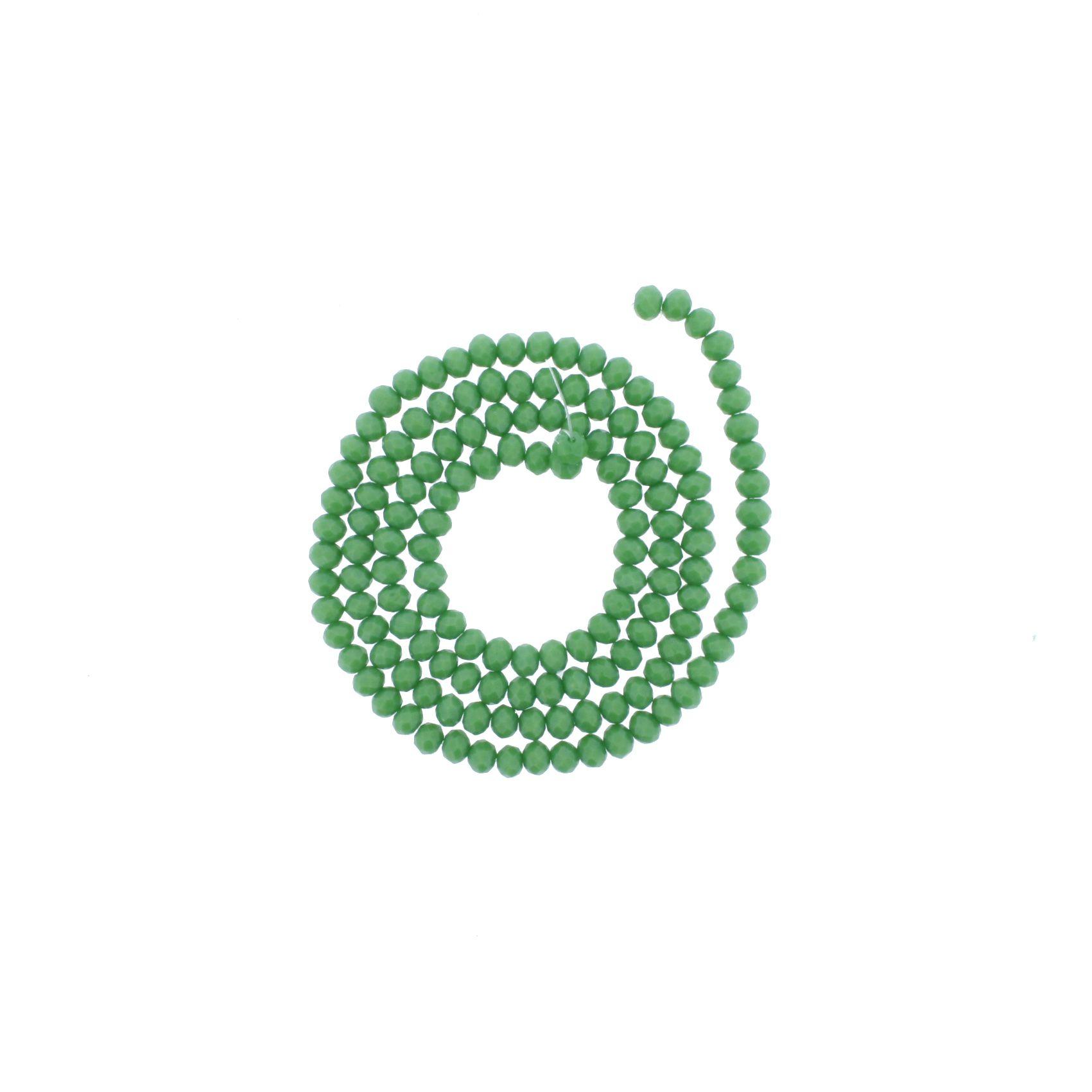 Fio de Cristal - Flat® - Verde - 4mm  - Stéphanie Bijoux® - Peças para Bijuterias e Artesanato