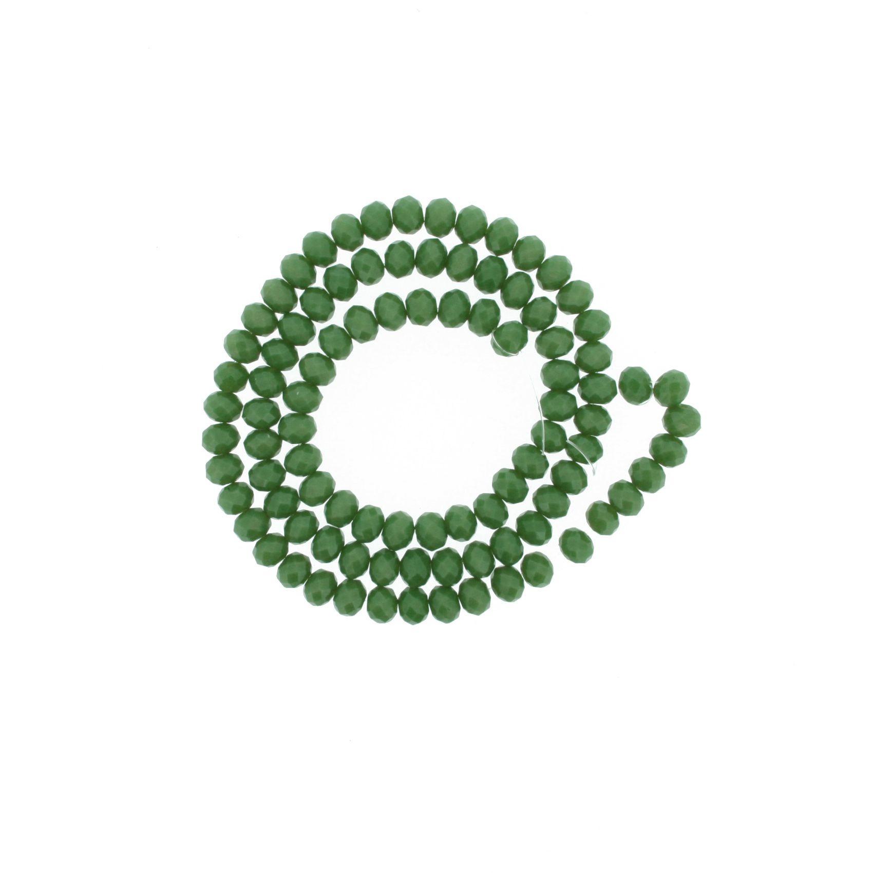 Fio de Cristal - Flat® - Verde - 6mm  - Stéphanie Bijoux® - Peças para Bijuterias e Artesanato