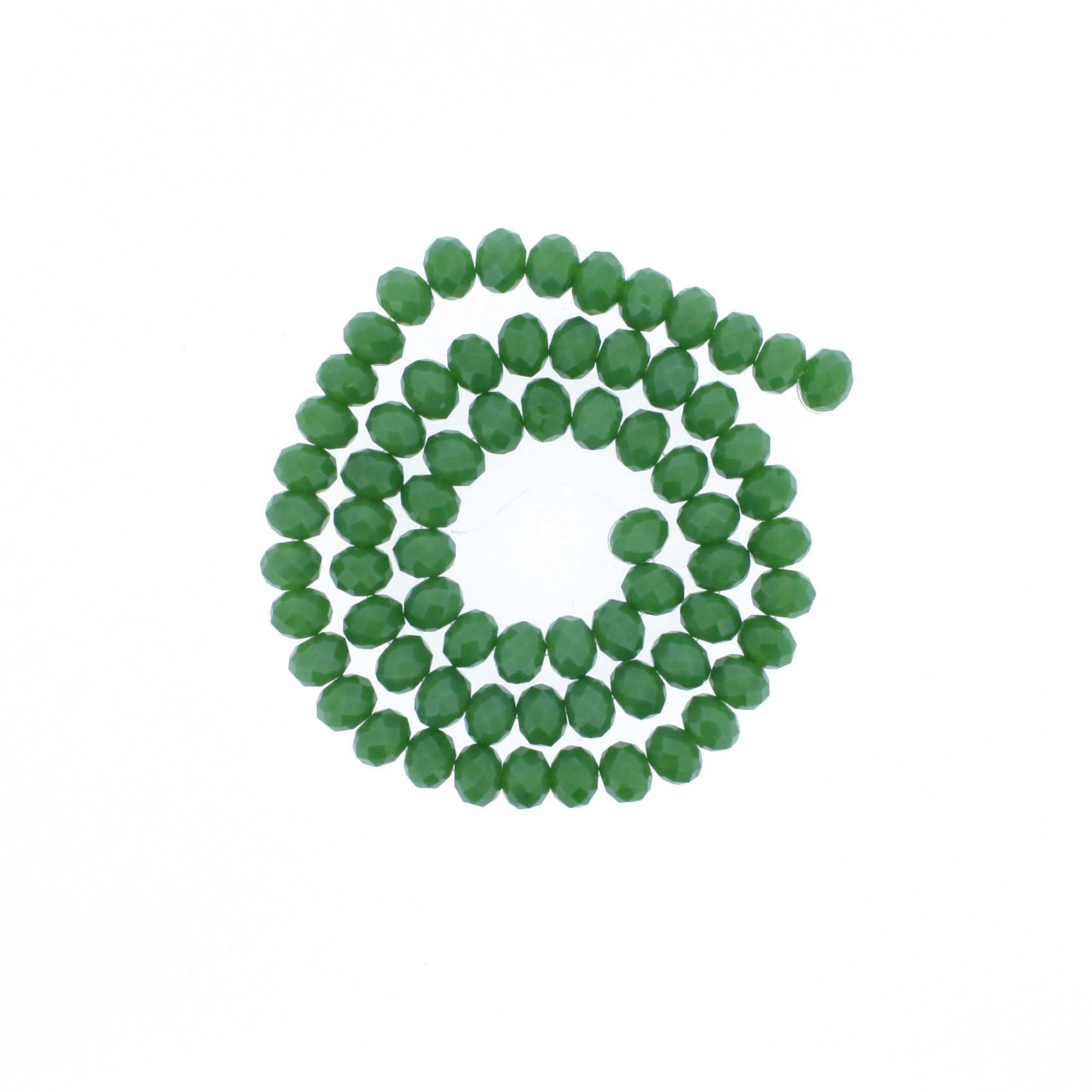 Fio de Cristal - Flat® - Verde - 8mm  - Stéphanie Bijoux® - Peças para Bijuterias e Artesanato