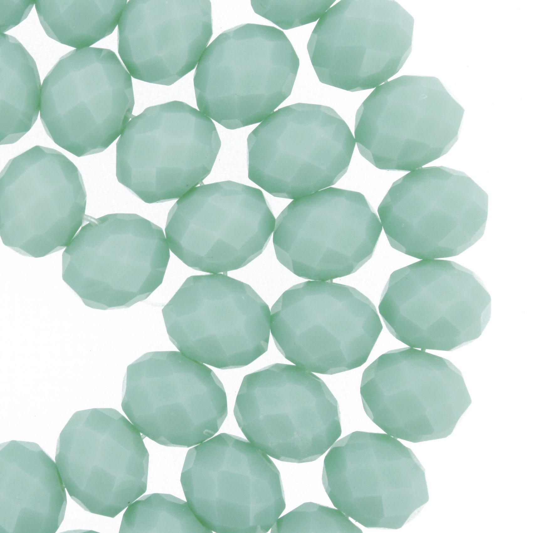 Fio de Cristal - Flat® - Verde Água - 10mm  - Stéphanie Bijoux® - Peças para Bijuterias e Artesanato