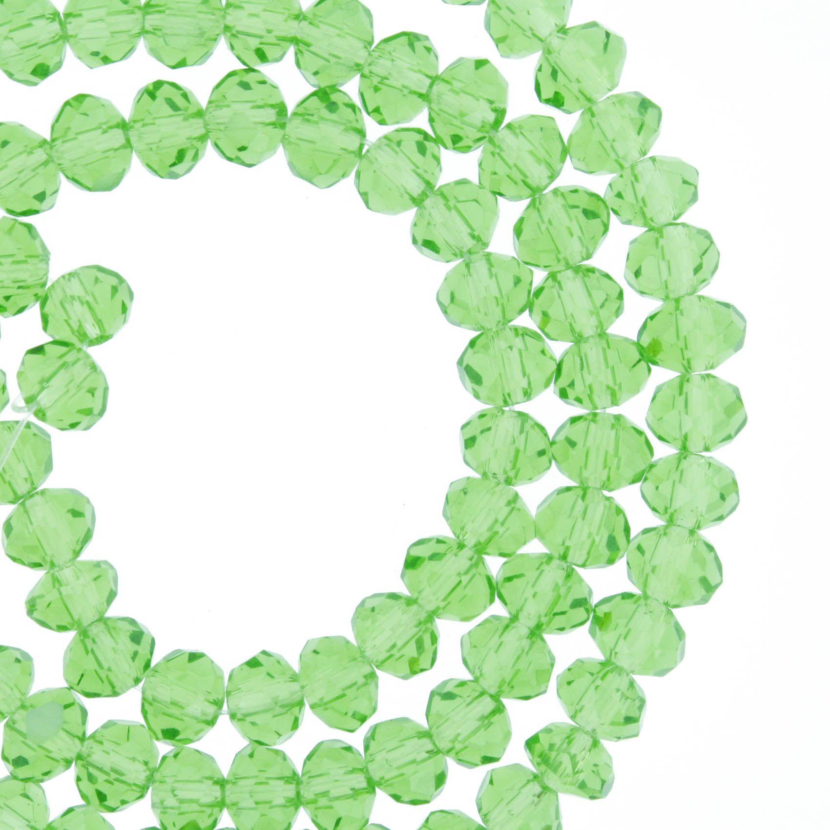 Fio de Cristal - Flat® - Verde Claro Transparente - 6mm  - Stéphanie Bijoux® - Peças para Bijuterias e Artesanato