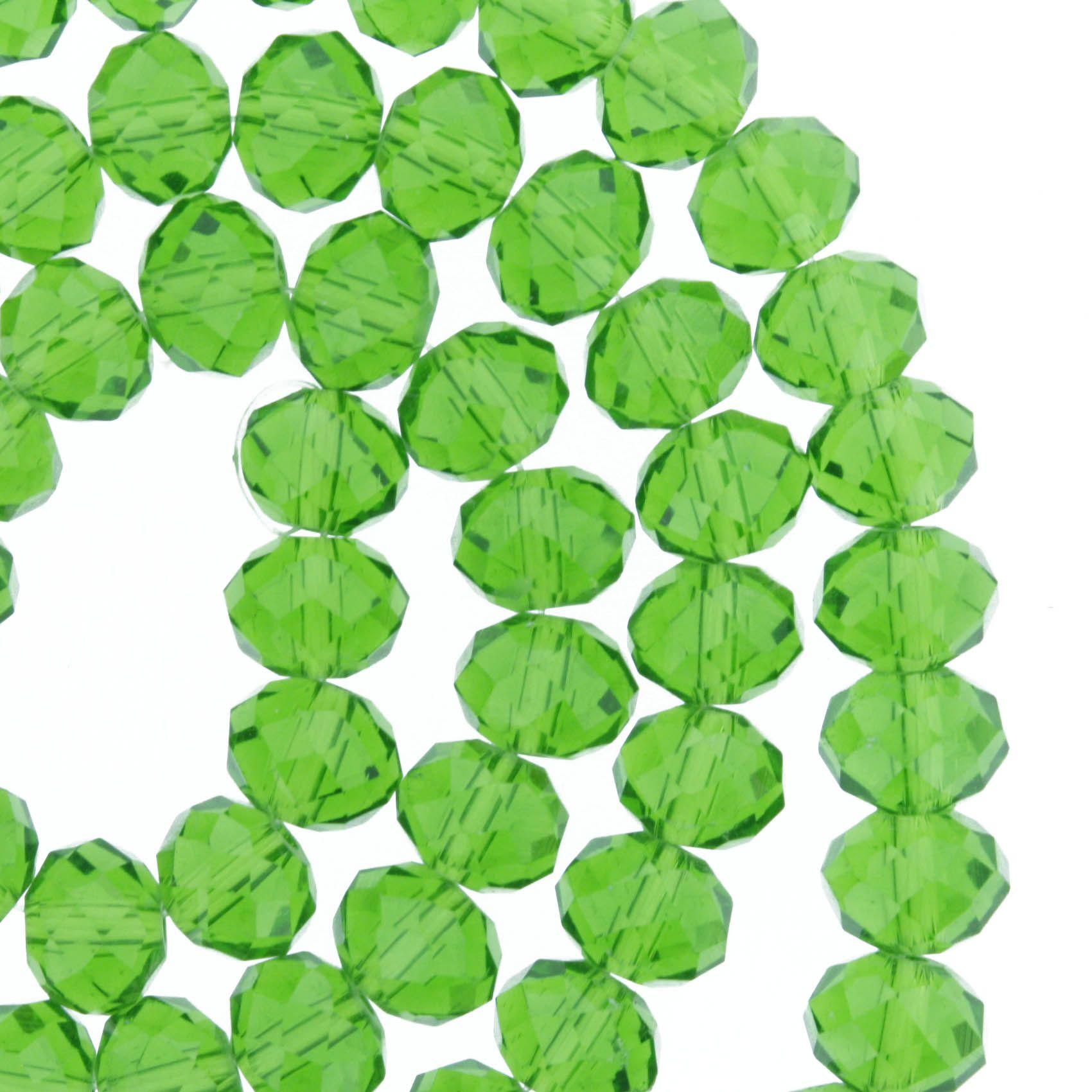 Fio de Cristal - Flat® - Verde Claro Transparente - 8mm  - Stéphanie Bijoux® - Peças para Bijuterias e Artesanato