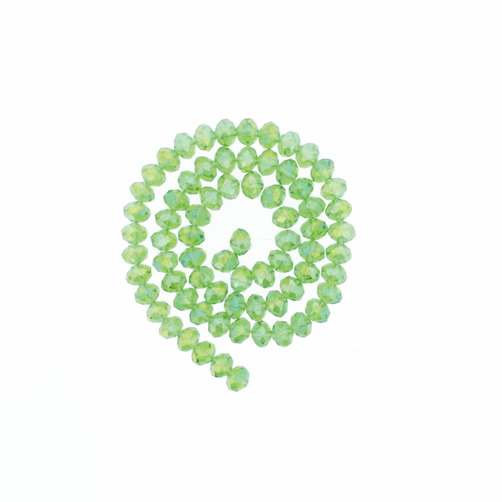 Fio de Cristal - Flat® - Verde Claro Transparente Irizado - 8mm  - Stéphanie Bijoux® - Peças para Bijuterias e Artesanato