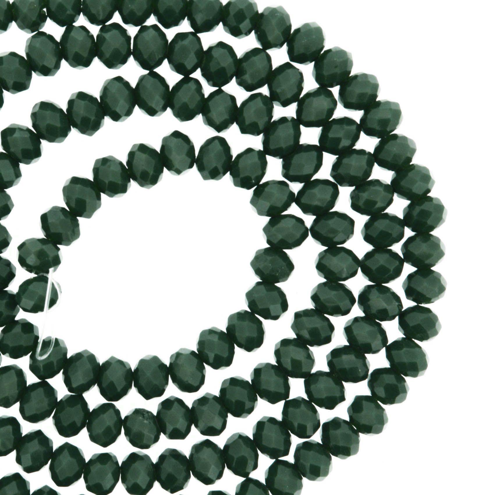 Fio de Cristal - Flat® - Verde Escuro - 4mm  - Stéphanie Bijoux® - Peças para Bijuterias e Artesanato