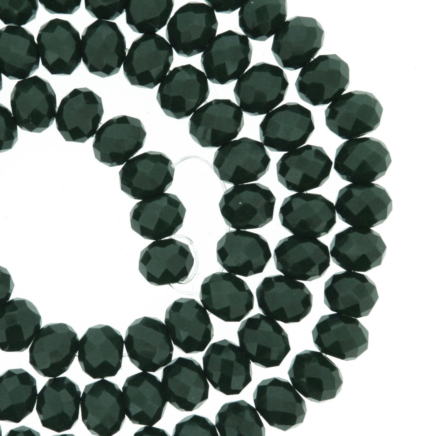 Fio de Cristal - Flat® - Verde Escuro - 6mm  - Stéphanie Bijoux® - Peças para Bijuterias e Artesanato