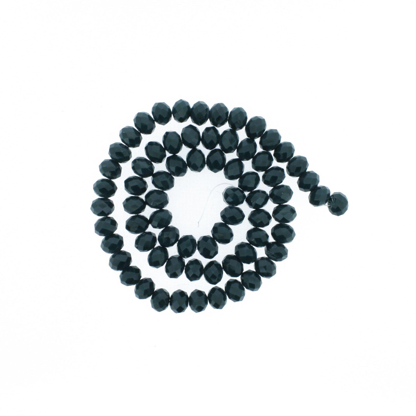 Fio de Cristal - Flat® - Verde Escuro - 8mm  - Stéphanie Bijoux® - Peças para Bijuterias e Artesanato