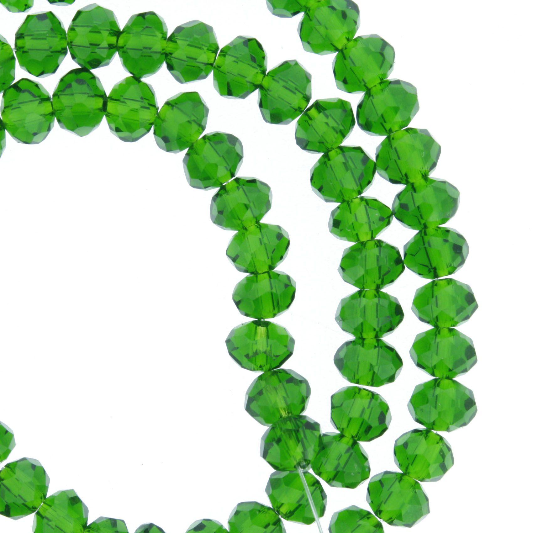 Fio de Cristal - Flat® - Verde Escuro Transparente - 6mm  - Stéphanie Bijoux® - Peças para Bijuterias e Artesanato