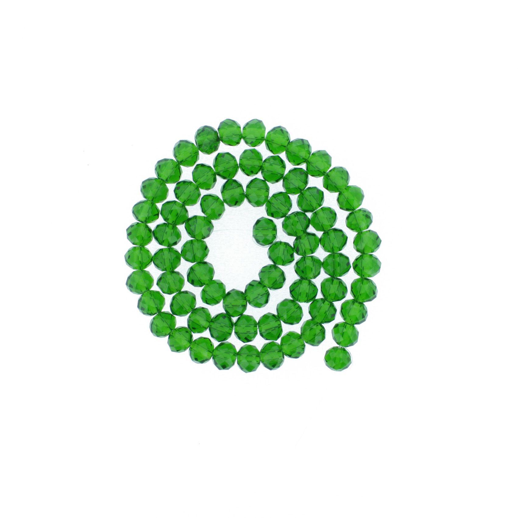 Fio de Cristal - Flat® - Verde Escuro Transparente - 8mm  - Stéphanie Bijoux® - Peças para Bijuterias e Artesanato