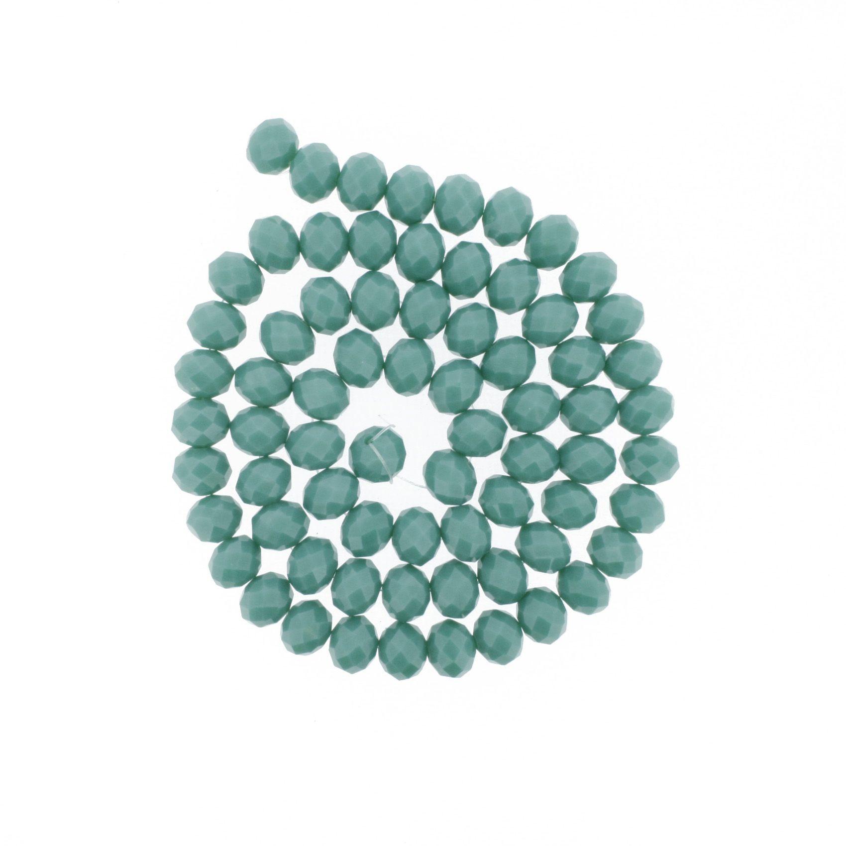 Fio de Cristal - Flat® - Verde Turquesa - 10mm  - Stéphanie Bijoux® - Peças para Bijuterias e Artesanato