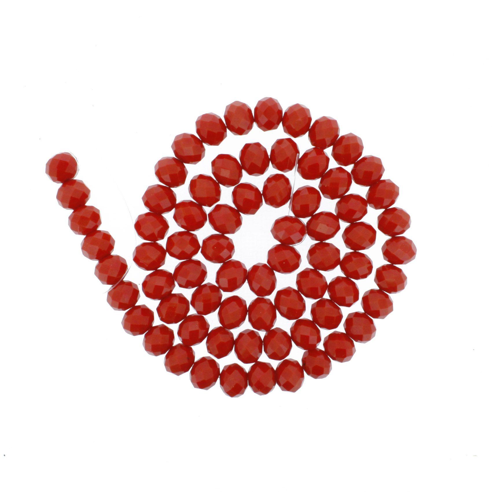 Fio de Cristal - Flat® - Vermelho - 10mm  - Stéphanie Bijoux® - Peças para Bijuterias e Artesanato