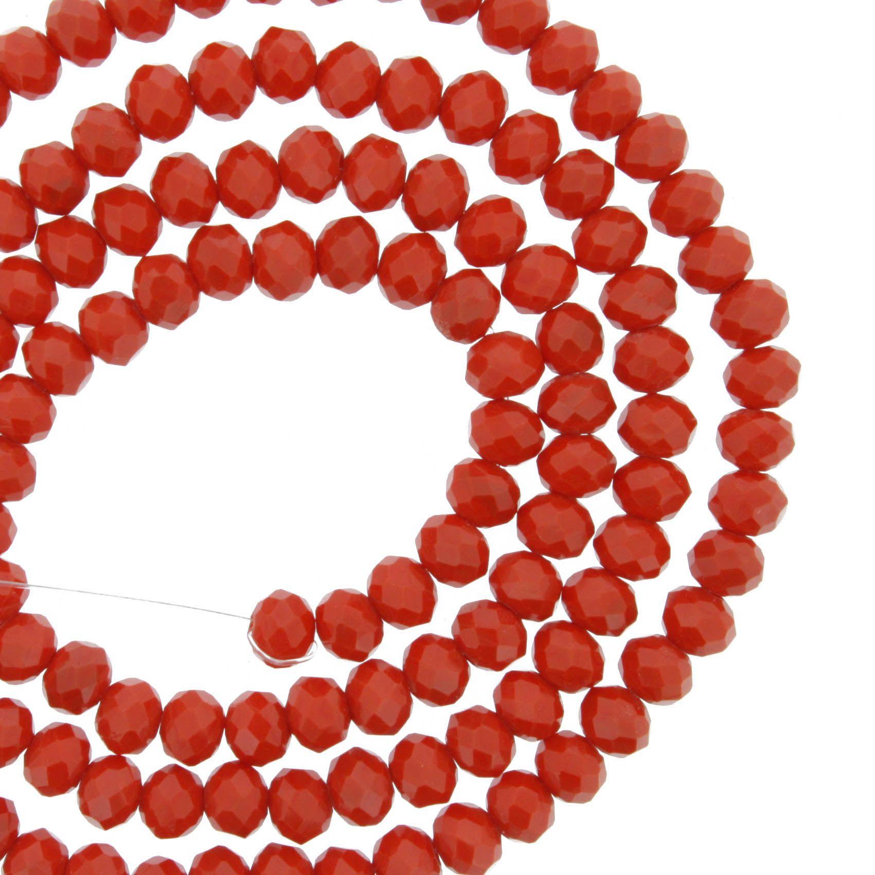 Fio de Cristal - Flat® - Vermelho - 4mm  - Stéphanie Bijoux® - Peças para Bijuterias e Artesanato