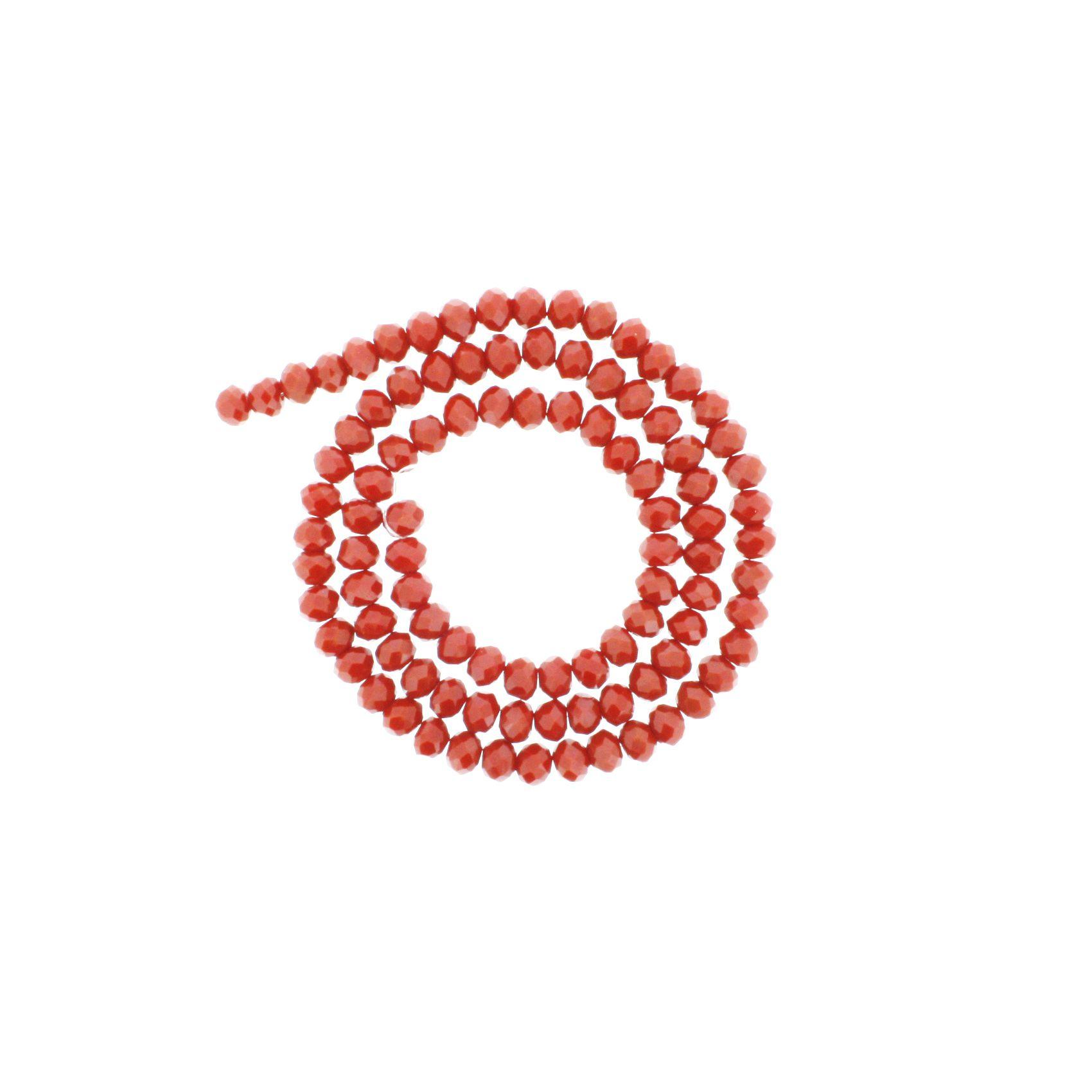 Fio de Cristal - Flat® - Vermelho - 6mm  - Stéphanie Bijoux® - Peças para Bijuterias e Artesanato