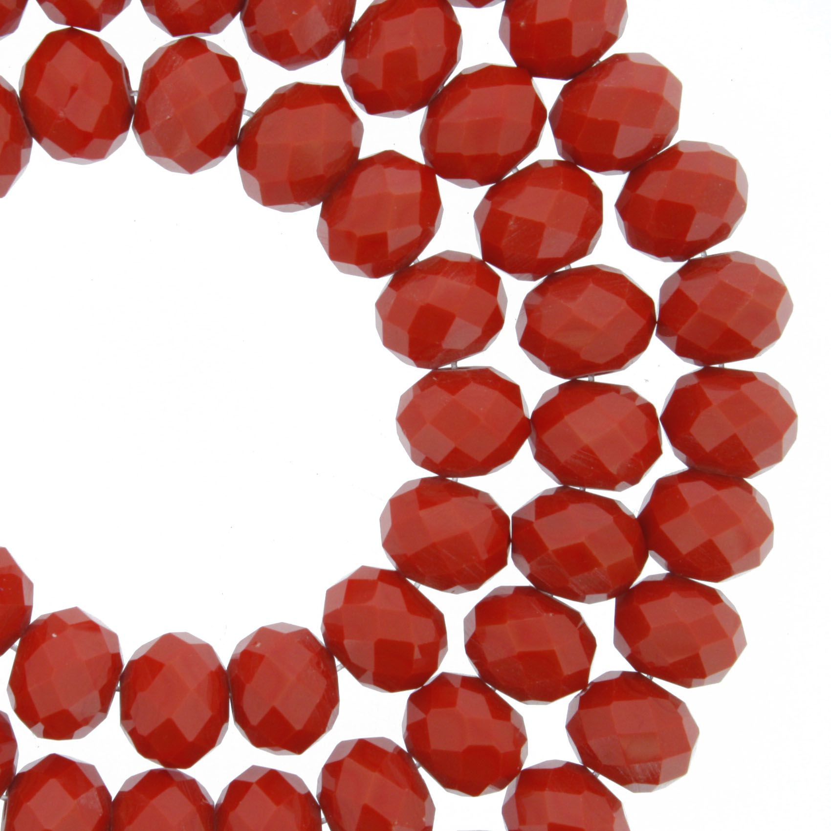 Fio de Cristal - Flat® - Vermelho - 8mm  - Stéphanie Bijoux® - Peças para Bijuterias e Artesanato