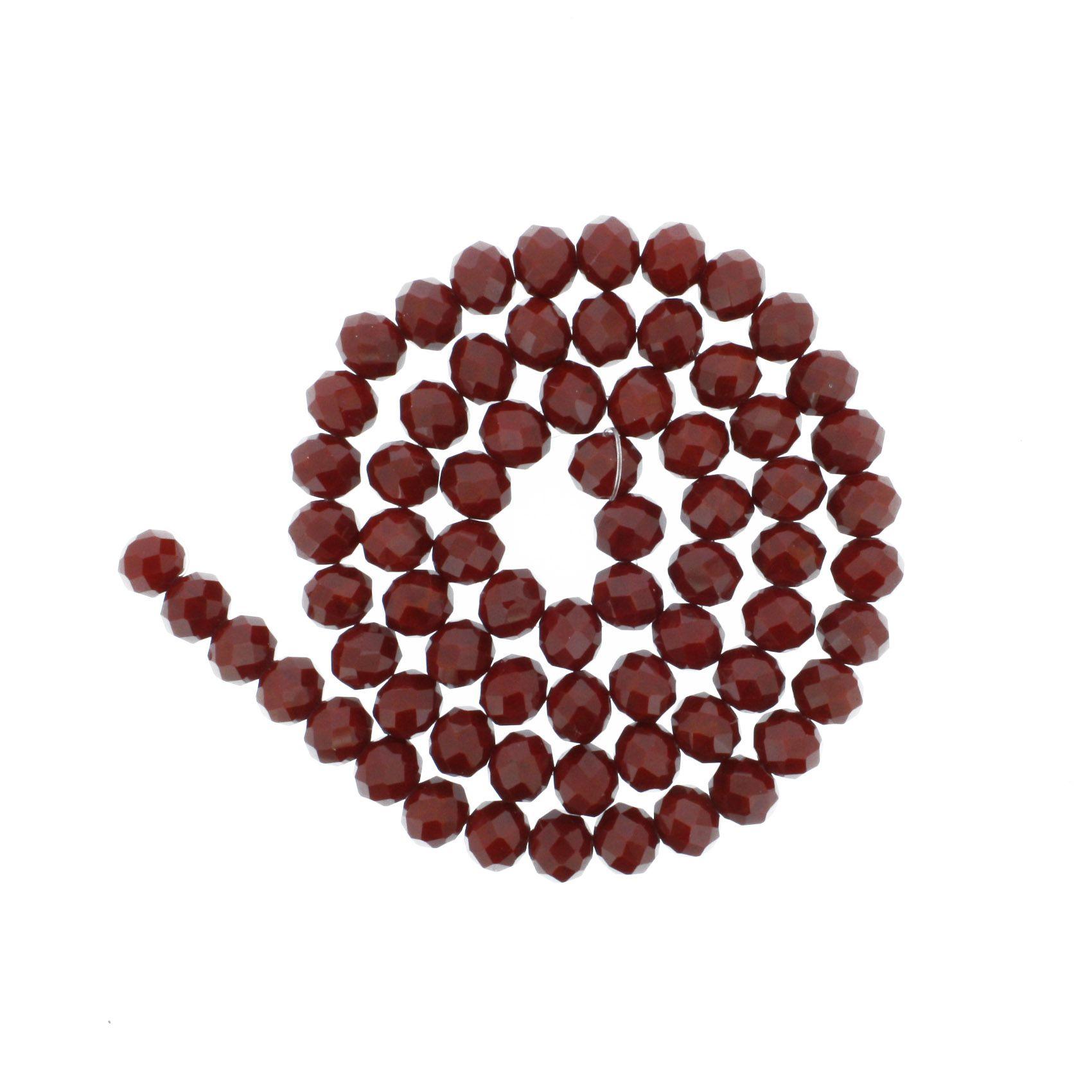 Fio de Cristal - Flat® - Vermelho Escuro - 10mm  - Stéphanie Bijoux® - Peças para Bijuterias e Artesanato