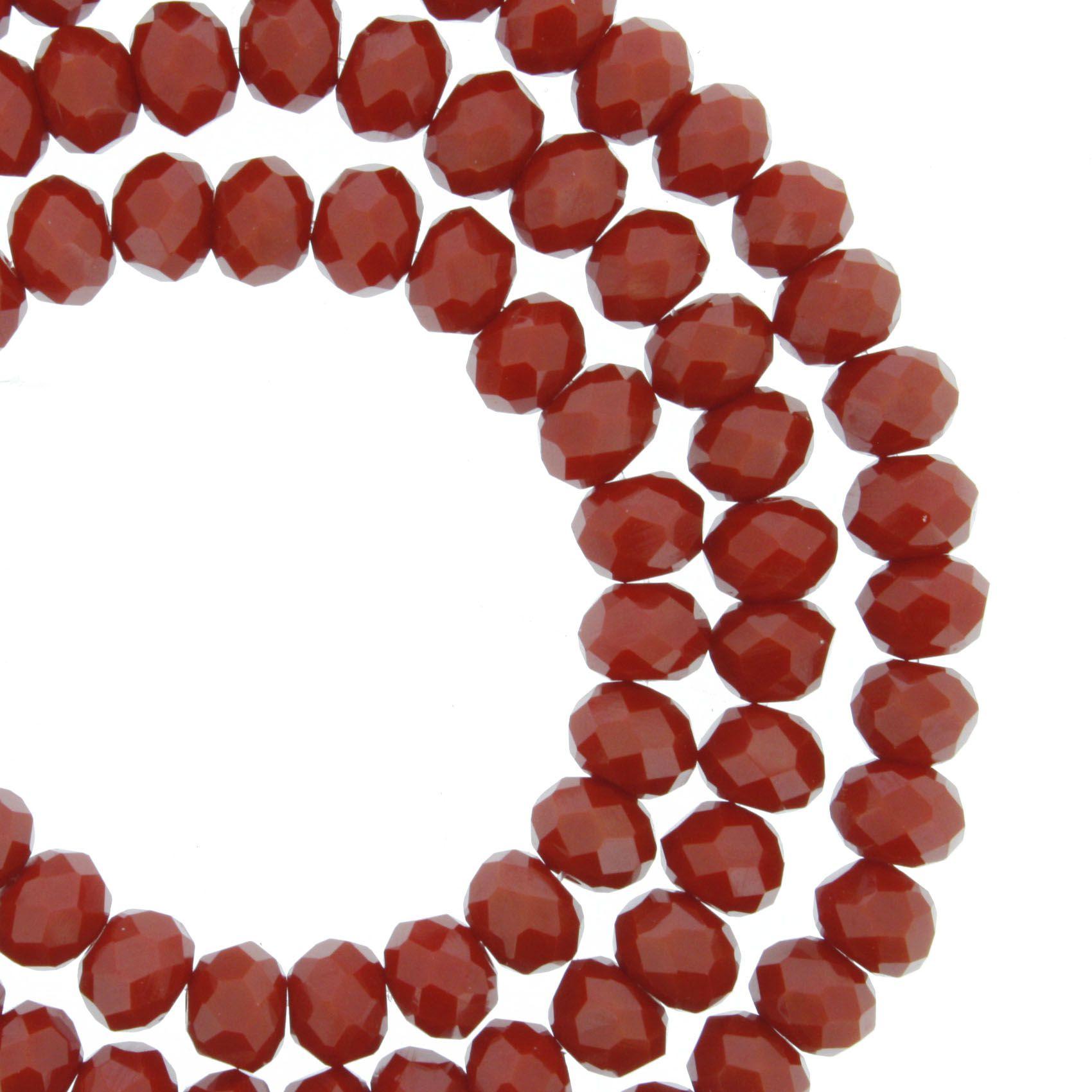 Fio de Cristal - Flat® - Vermelho Escuro - 6mm  - Stéphanie Bijoux® - Peças para Bijuterias e Artesanato