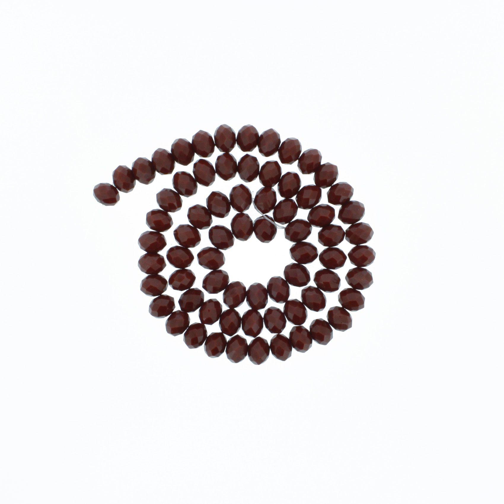 Fio de Cristal - Flat® - Vermelho Escuro - 8mm  - Stéphanie Bijoux® - Peças para Bijuterias e Artesanato