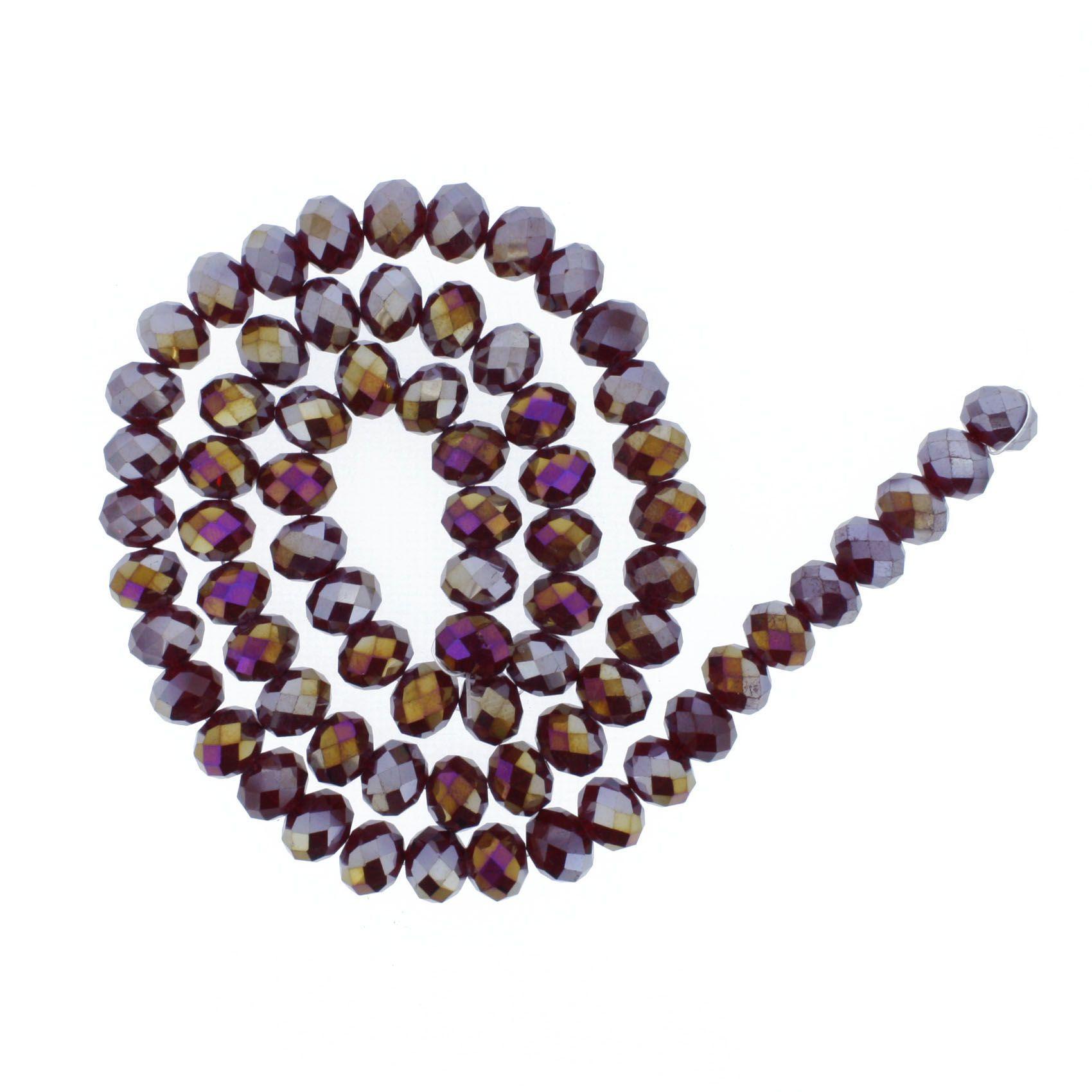 Fio de Cristal - Flat® - Vermelho Escuro Irizado - 10mm  - Stéphanie Bijoux® - Peças para Bijuterias e Artesanato