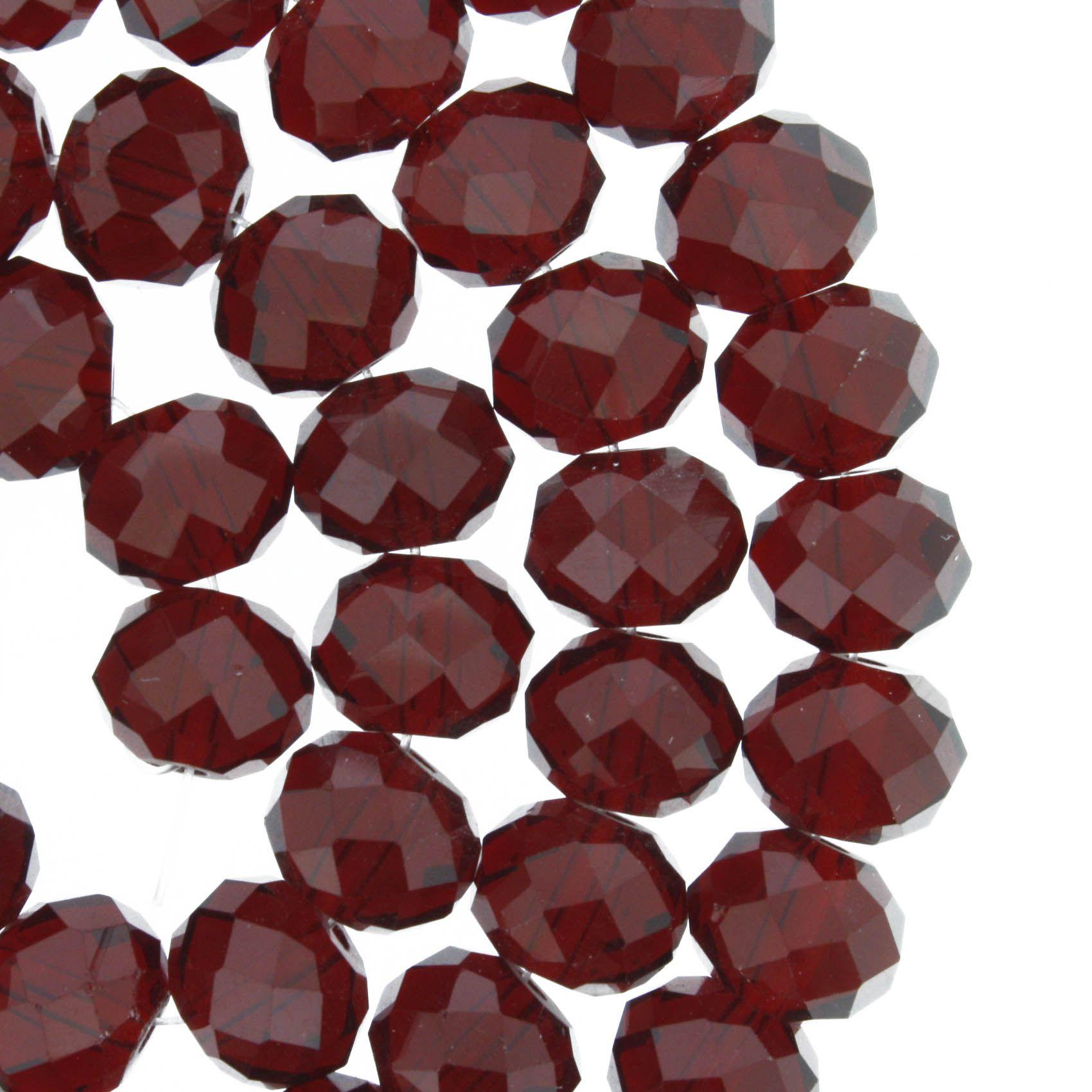 Fio de Cristal - Flat® - Vermelho Transparente - 10mm  - Stéphanie Bijoux® - Peças para Bijuterias e Artesanato