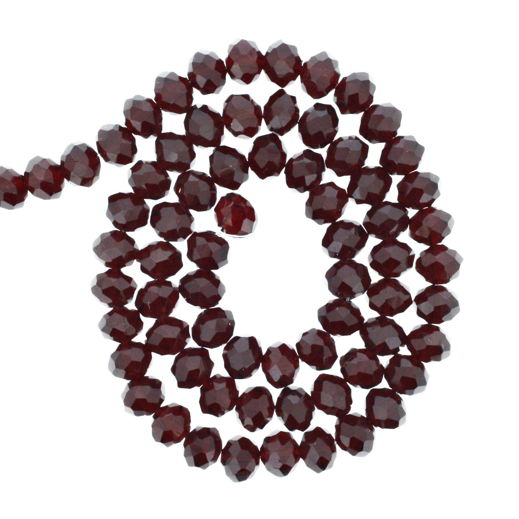 Fio de Cristal - Flat® - Vermelho Escuro Transparente - 8mm  - Stéphanie Bijoux® - Peças para Bijuterias e Artesanato