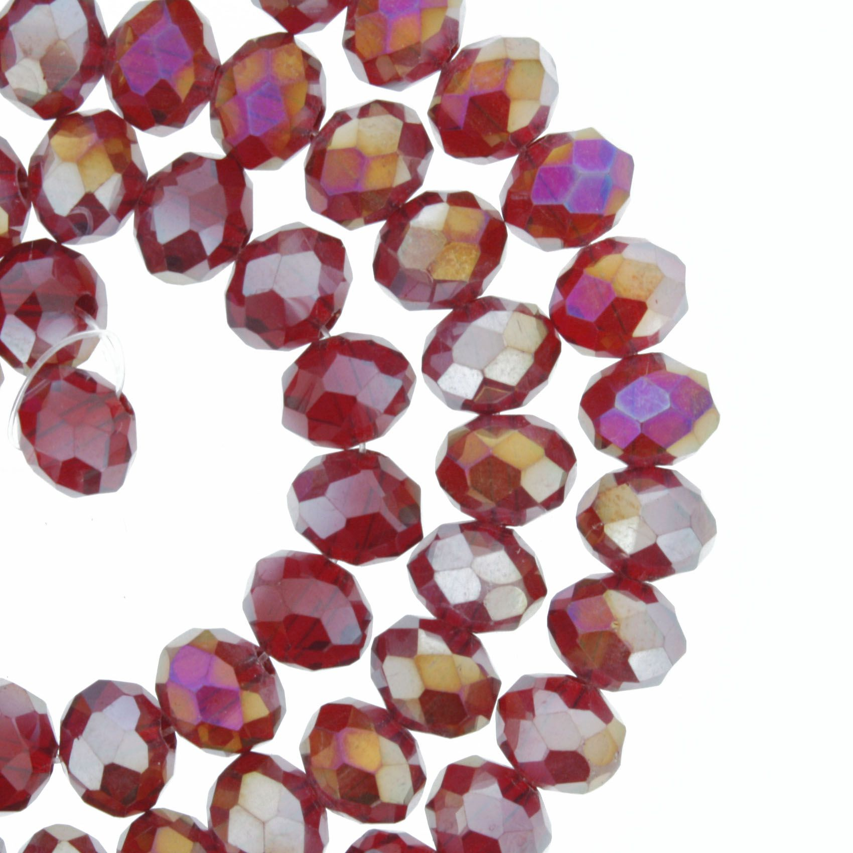Fio de Cristal - Flat® - Vermelho Escuro Transparente Irizado - 8mm  - Stéphanie Bijoux® - Peças para Bijuterias e Artesanato