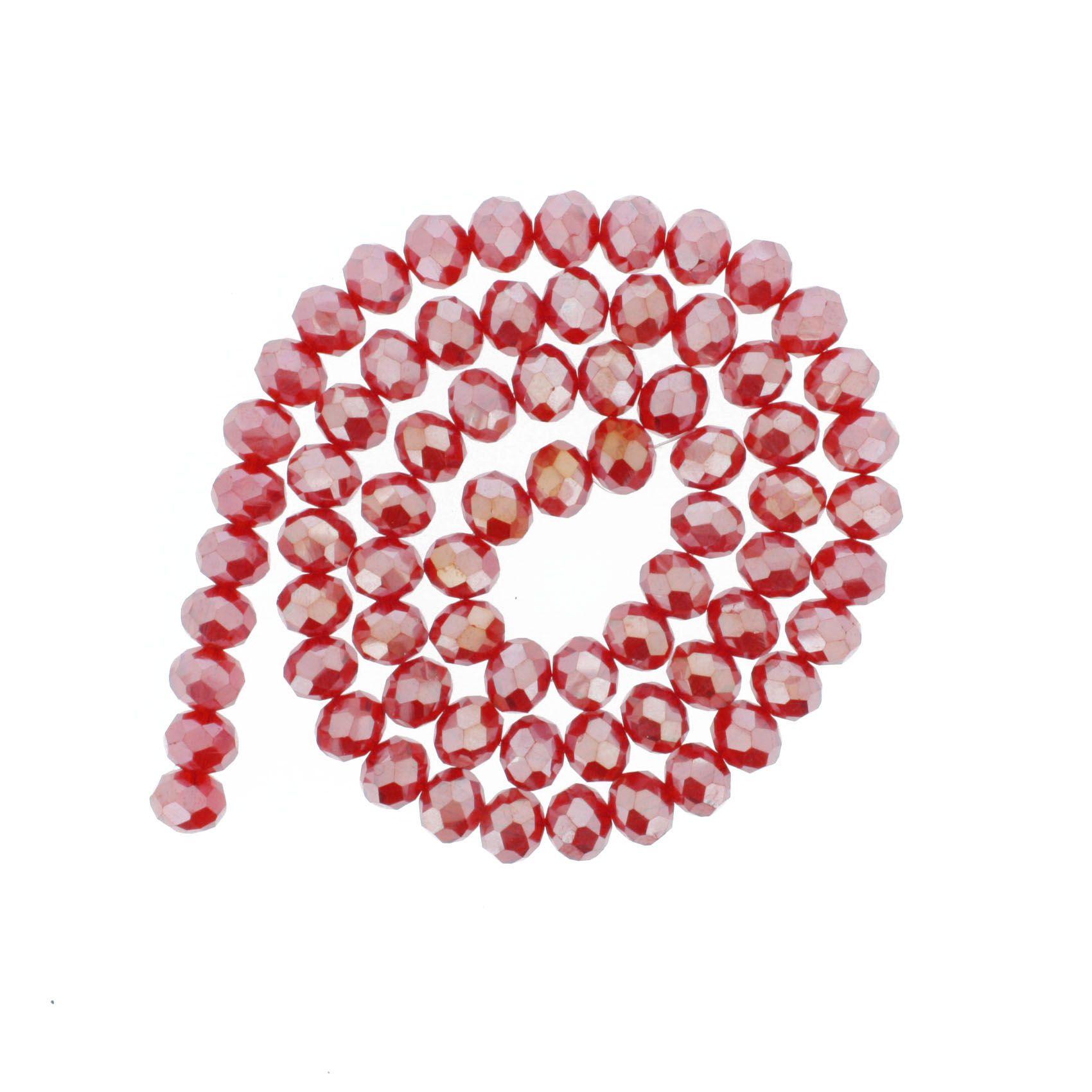 Fio de Cristal - Flat® - Vermelho Irizado - 10mm  - Stéphanie Bijoux® - Peças para Bijuterias e Artesanato