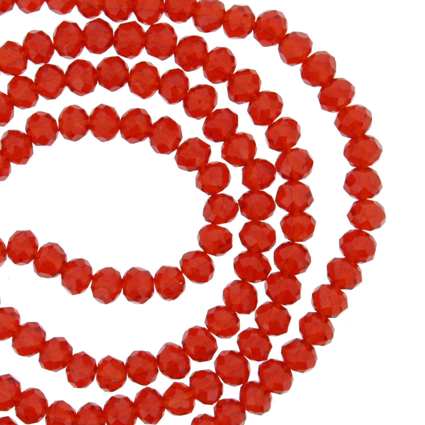 Fio de Cristal - Flat® - Vermelho Transparente - 4mm  - Stéphanie Bijoux® - Peças para Bijuterias e Artesanato