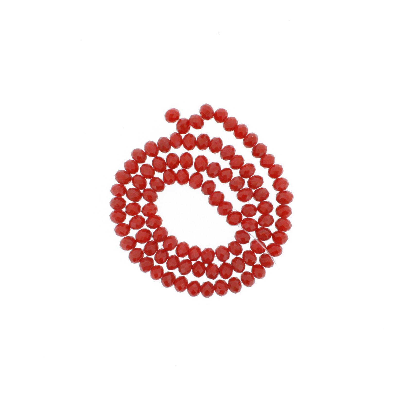 Fio de Cristal - Flat® - Vermelho Transparente - 6mm  - Stéphanie Bijoux® - Peças para Bijuterias e Artesanato