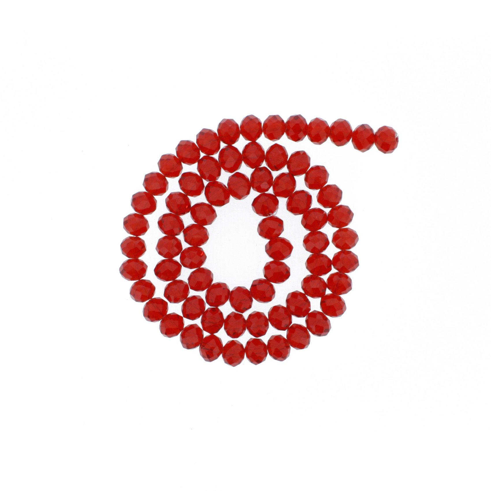 Fio de Cristal - Flat® - Vermelho Transparente - 8mm  - Stéphanie Bijoux® - Peças para Bijuterias e Artesanato