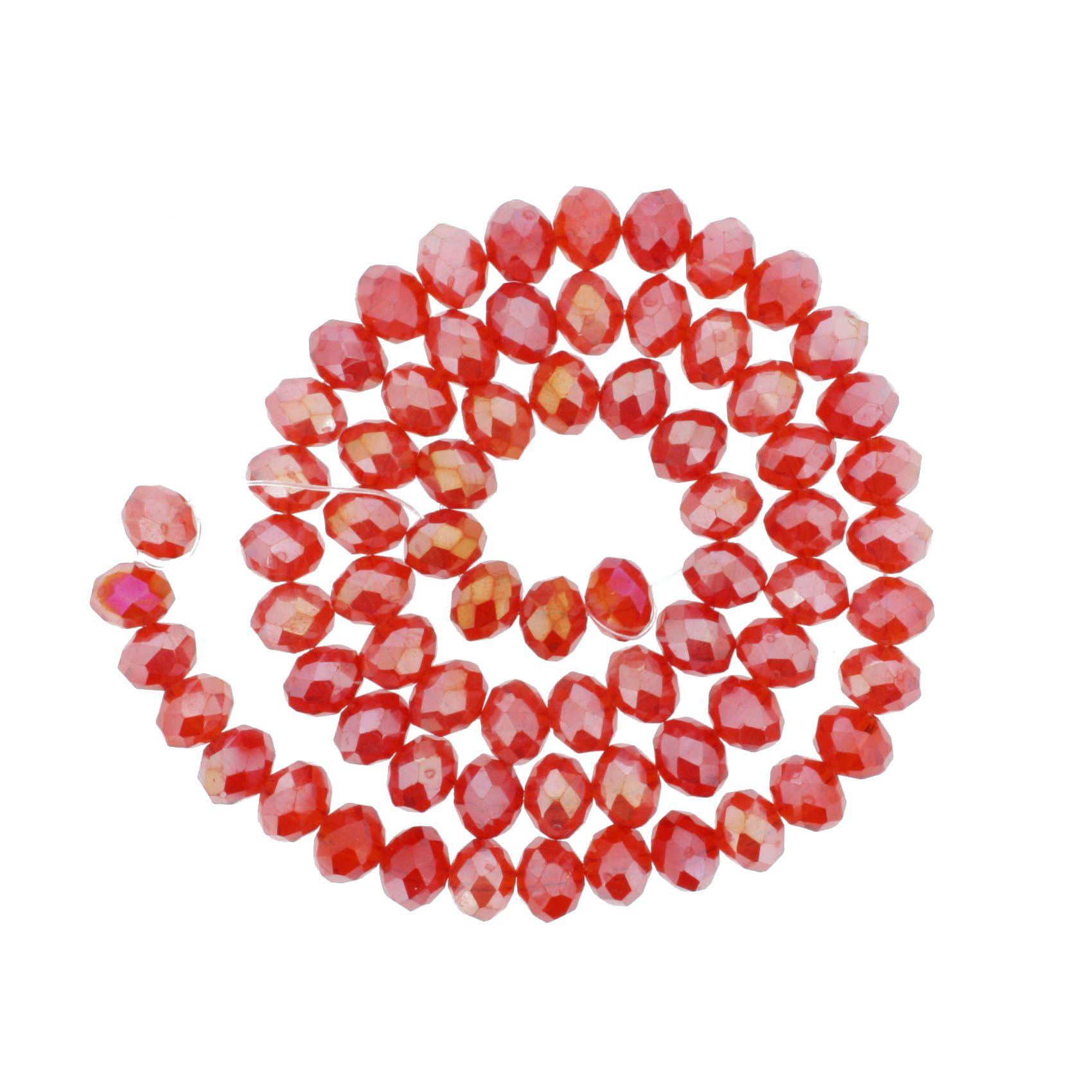 Fio de Cristal - Flat® - Vermelho Transparente Irizado - 8mm  - Stéphanie Bijoux® - Peças para Bijuterias e Artesanato