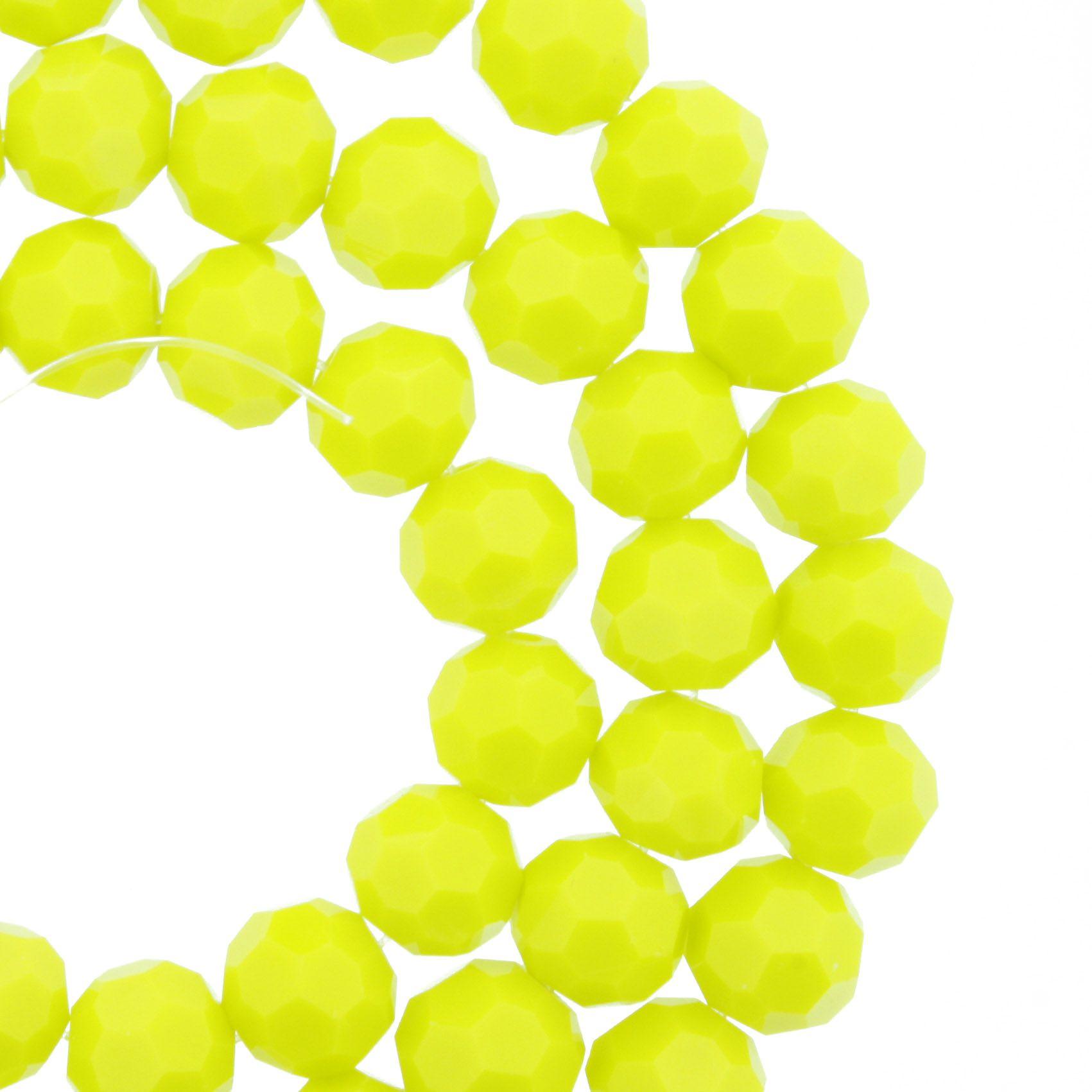 Fio de Cristal - Premium® - Amarelo - 8mm  - Stéphanie Bijoux® - Peças para Bijuterias e Artesanato