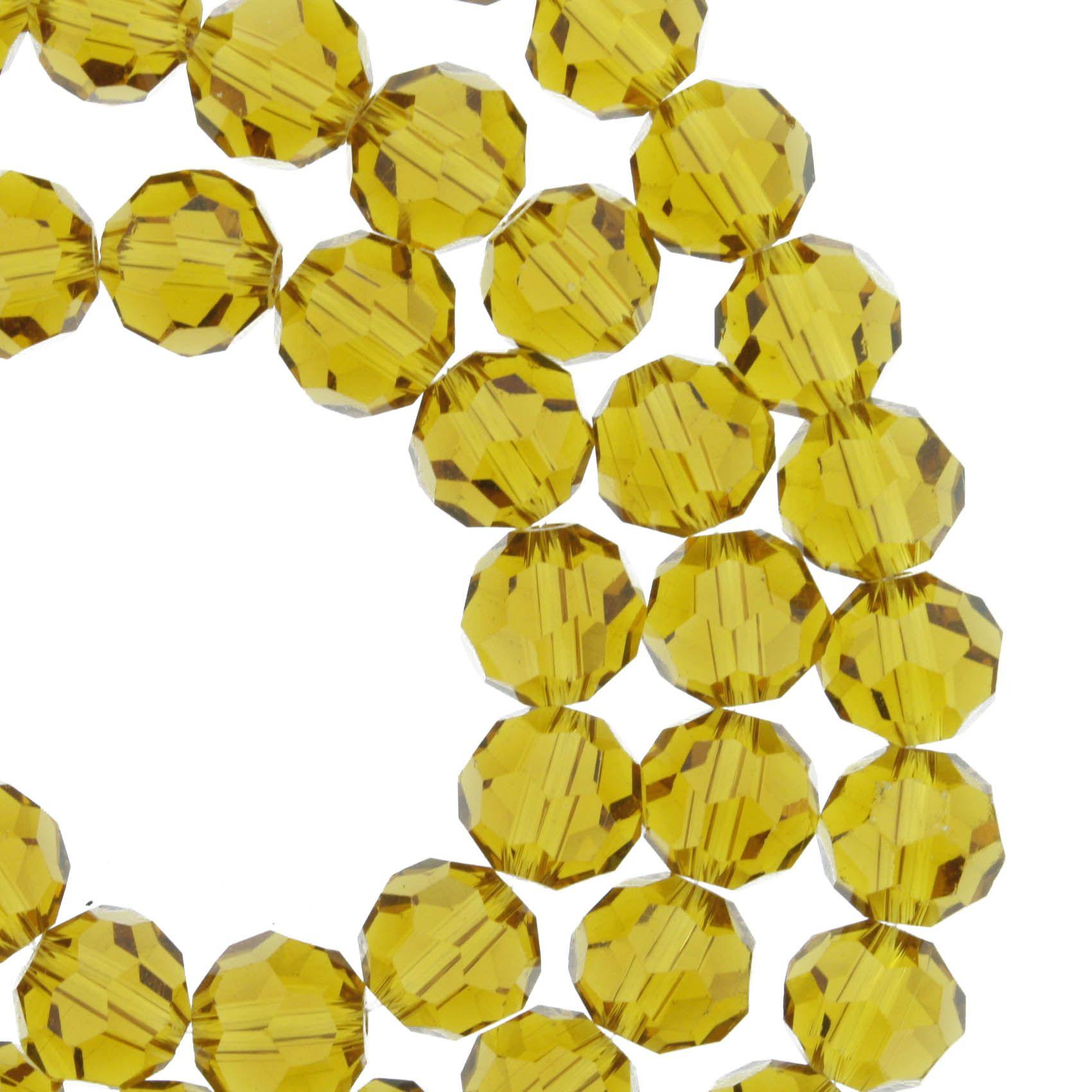 Fio de Cristal - Premium® - Âmbar - 8mm  - Stéphanie Bijoux® - Peças para Bijuterias e Artesanato