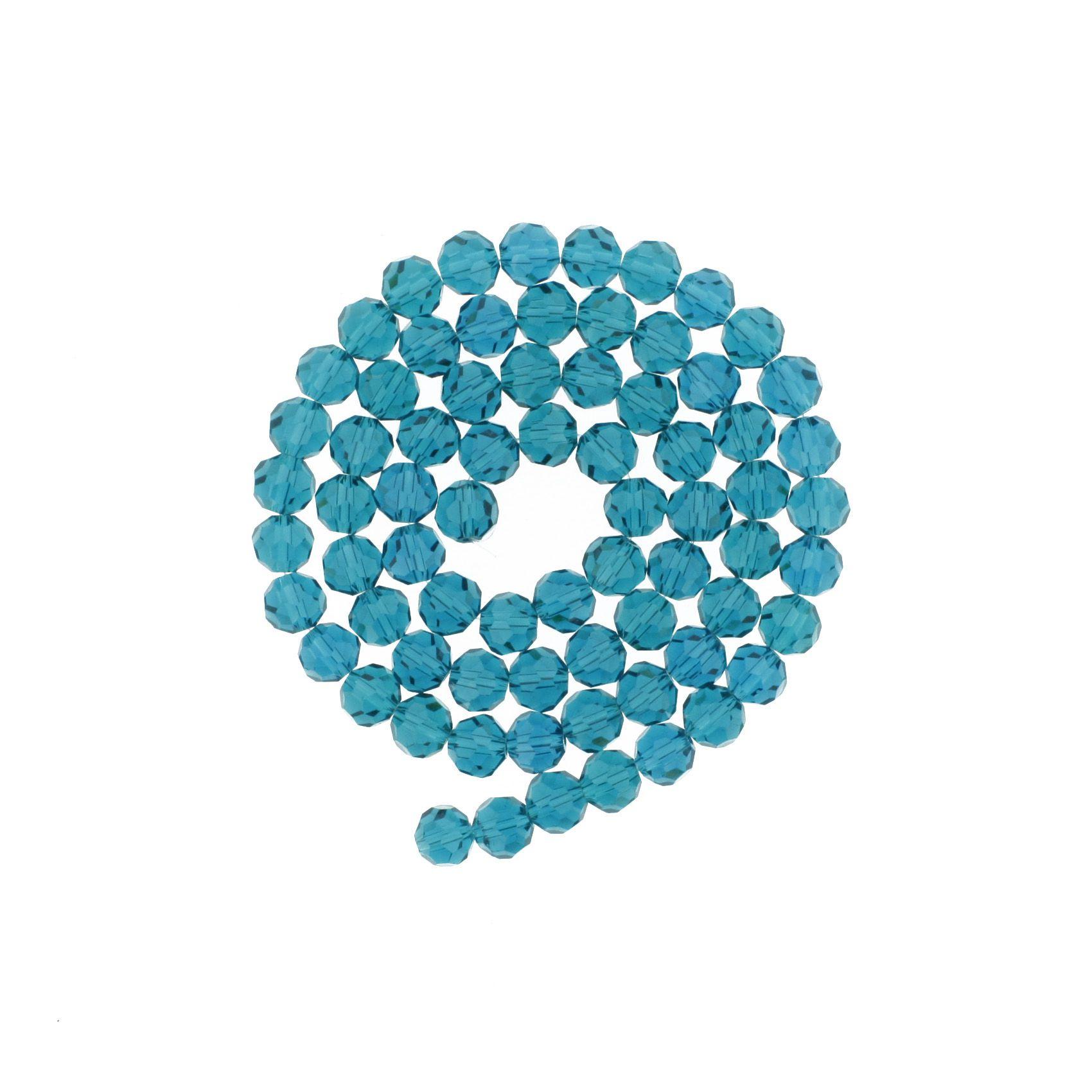 Fio de Cristal - Premium® - Azul Petróleo Transparente - 8mm  - Stéphanie Bijoux® - Peças para Bijuterias e Artesanato