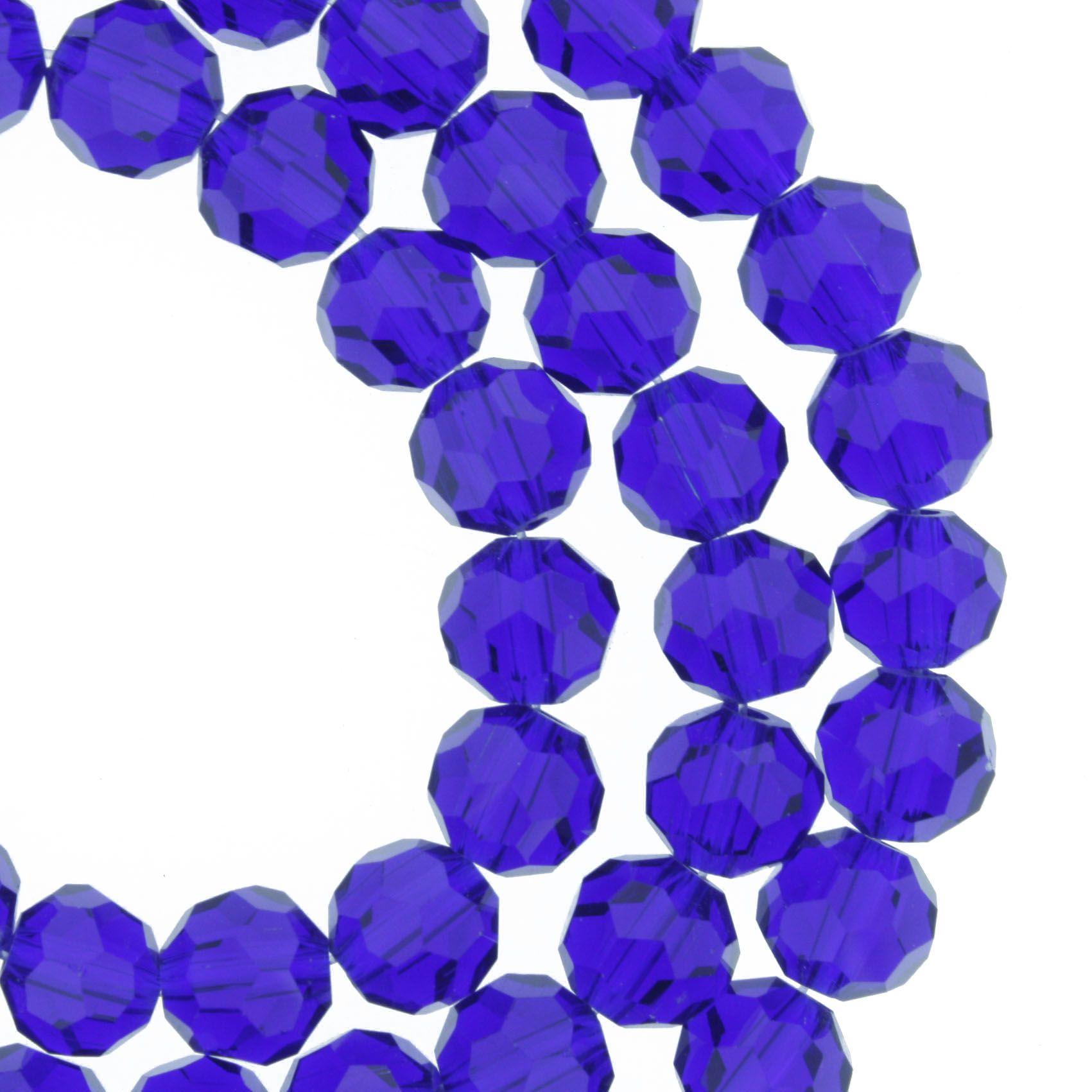 Fio de Cristal - Premium® - Azul Royal Transparente - 8mm  - Stéphanie Bijoux® - Peças para Bijuterias e Artesanato