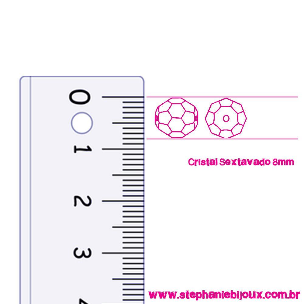 Fio de Cristal - Premium® - Dourado - 8mm  - Stéphanie Bijoux® - Peças para Bijuterias e Artesanato
