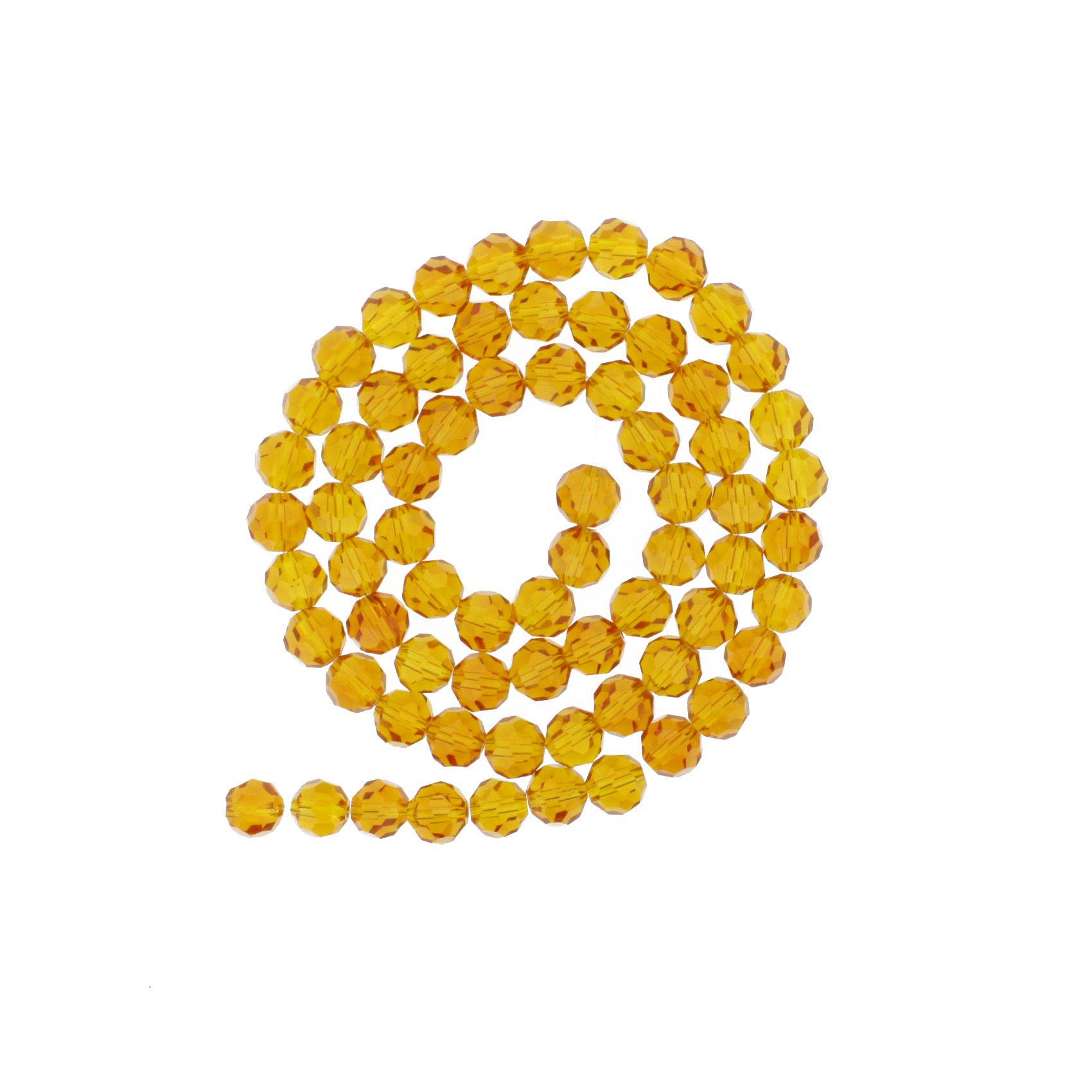 Fio de Cristal - Premium® - Laranja Transparente - 8mm  - Stéphanie Bijoux® - Peças para Bijuterias e Artesanato