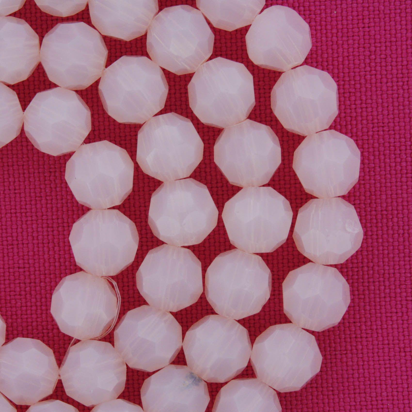 Fio de Cristal - Premium® - Rosa - 8mm  - Stéphanie Bijoux® - Peças para Bijuterias e Artesanato