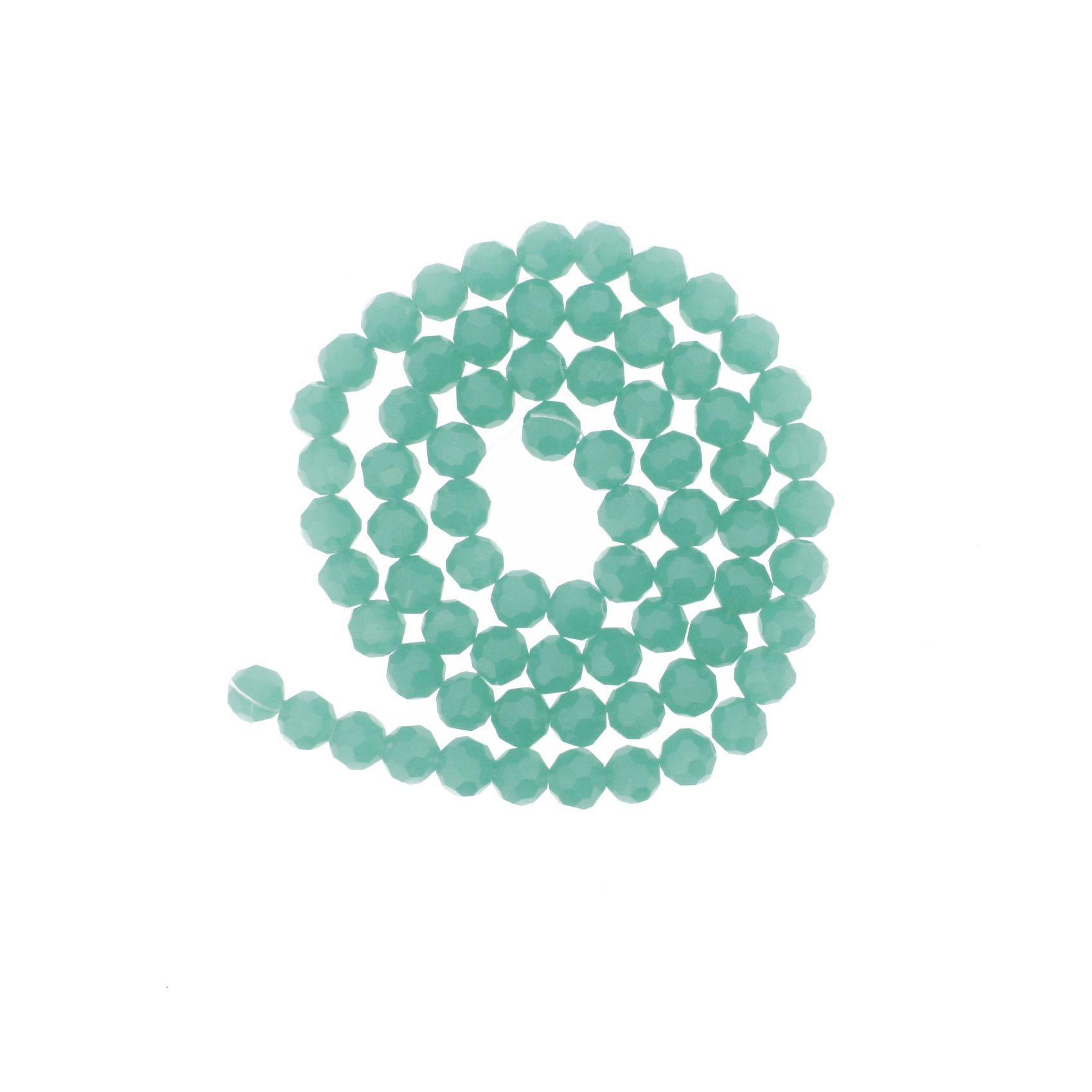 Fio de Cristal - Premium® - Verde Água - 8mm  - Stéphanie Bijoux® - Peças para Bijuterias e Artesanato