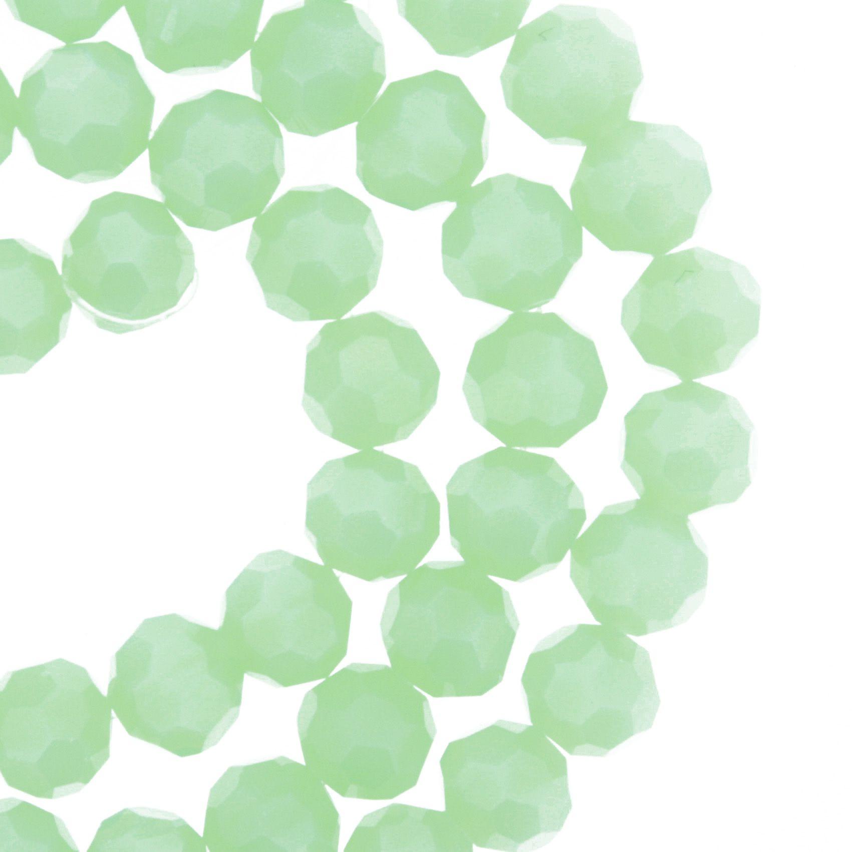 Fio de Cristal - Premium® - Verde Claro - 8mm  - Stéphanie Bijoux® - Peças para Bijuterias e Artesanato