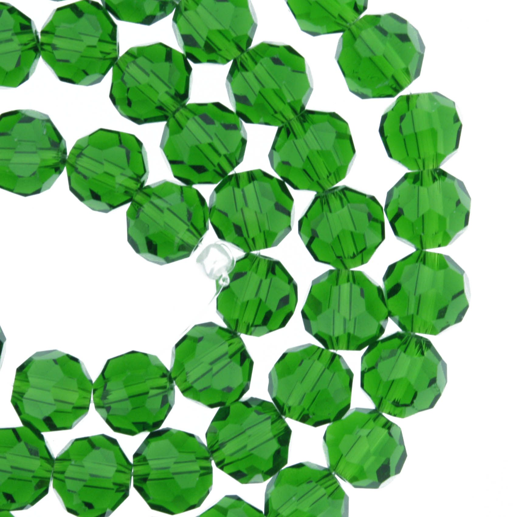 Fio de Cristal - Premium® - Verde Escuro Transparente - 8mm  - Stéphanie Bijoux® - Peças para Bijuterias e Artesanato