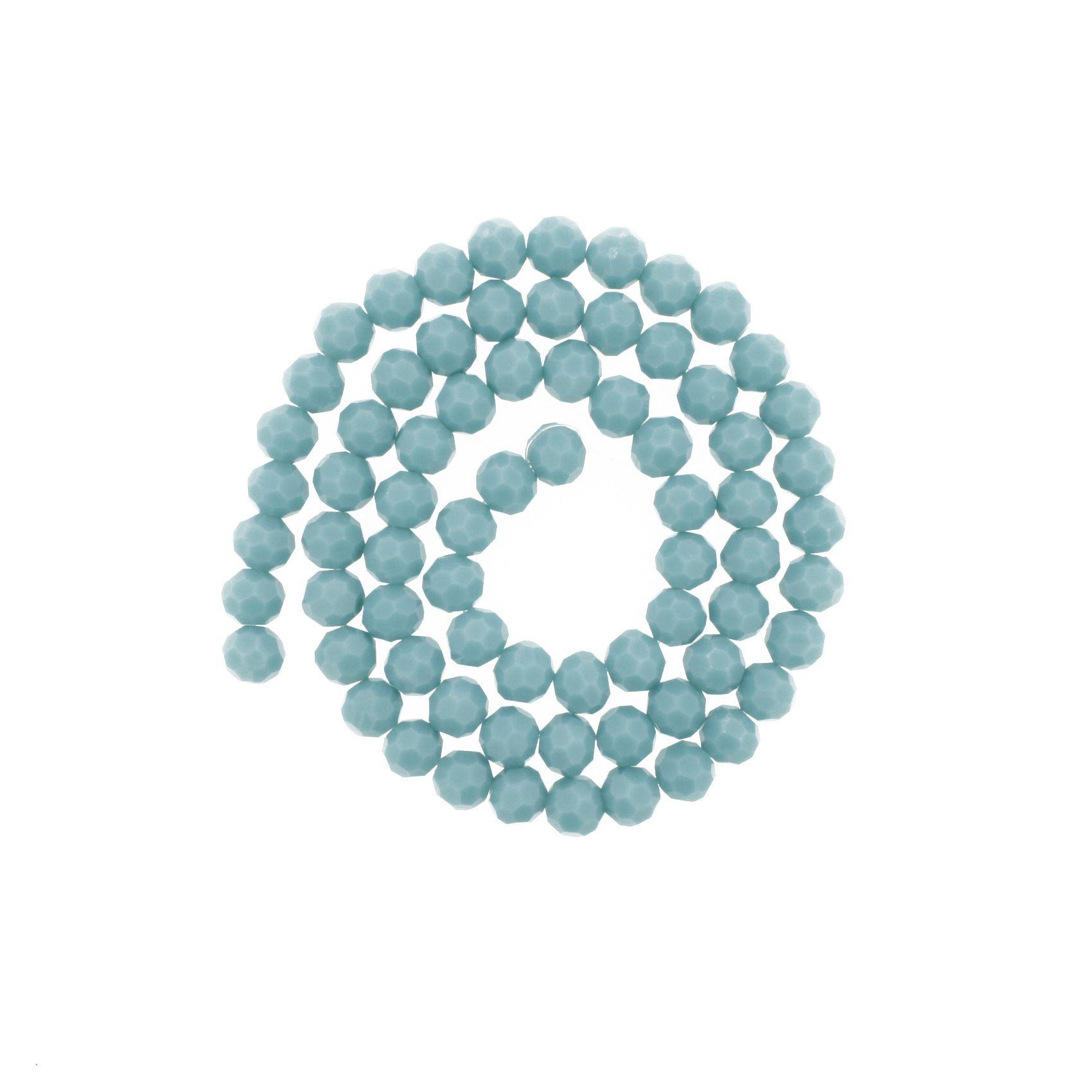 Fio de Cristal - Premium® - Verde Turquesa - 8mm  - Stéphanie Bijoux® - Peças para Bijuterias e Artesanato
