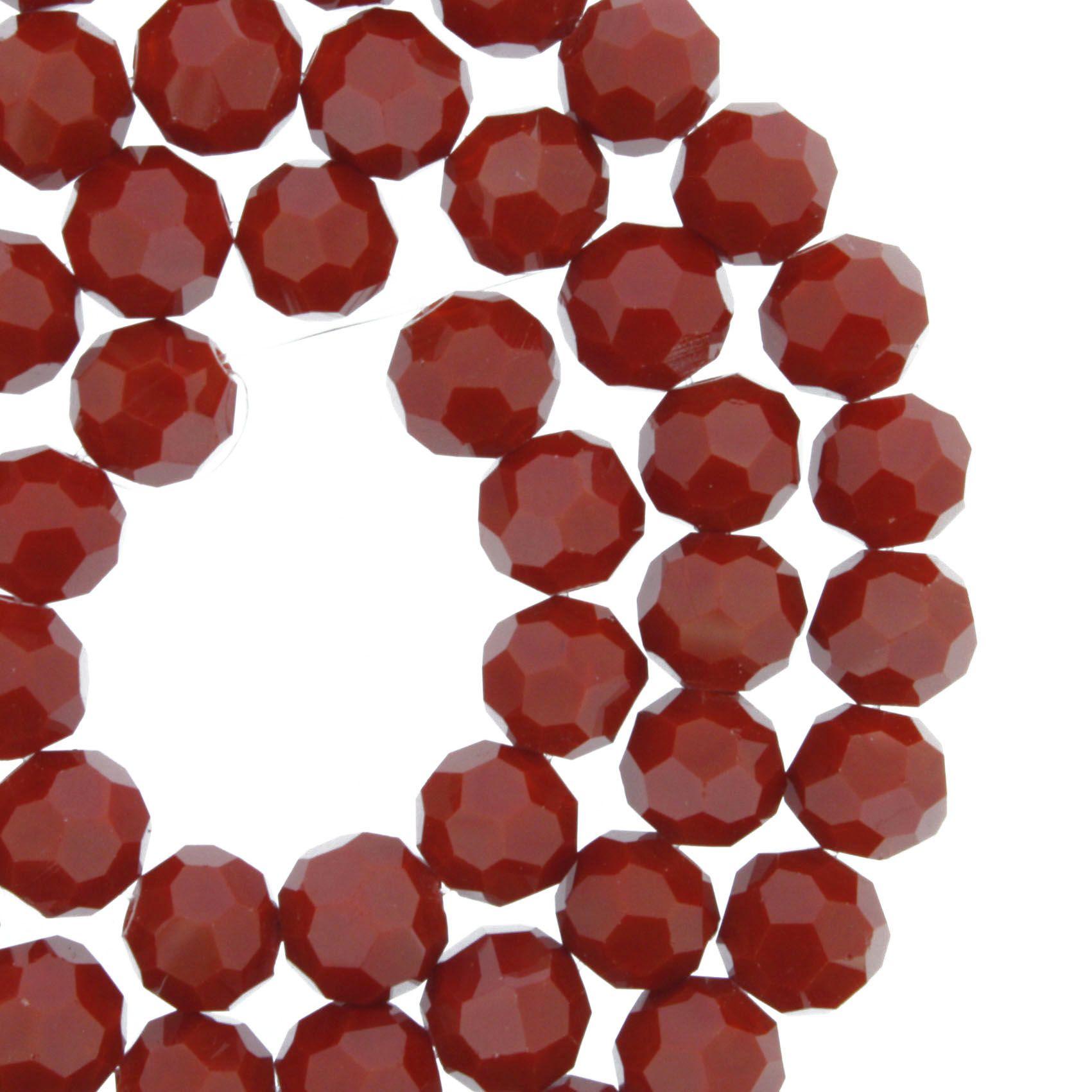 Fio de Cristal - Premium® - Vermelho - 8mm  - Stéphanie Bijoux® - Peças para Bijuterias e Artesanato