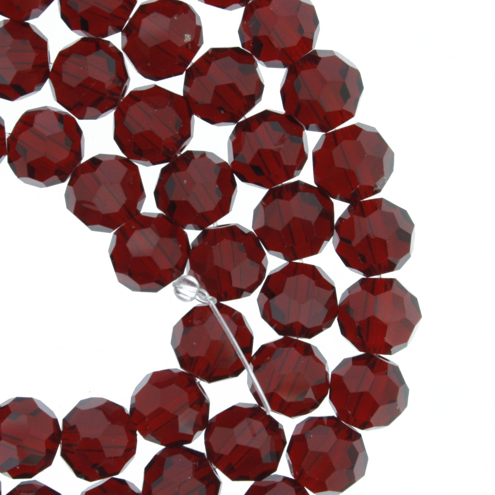 Fio de Cristal - Premium® - Vermelho Transparente - 8mm  - Stéphanie Bijoux® - Peças para Bijuterias e Artesanato