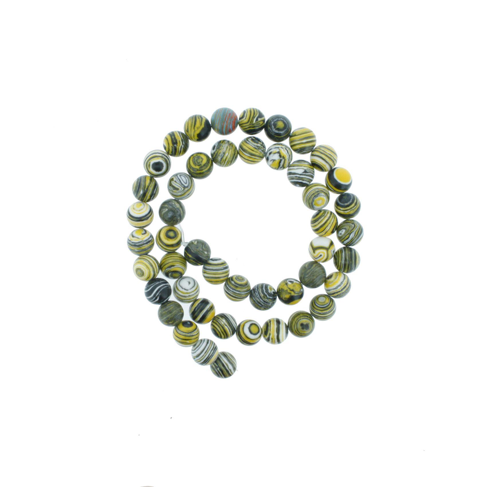 Fio de Pedra - Ágata Amarela Rajada - 8mm  - Stéphanie Bijoux® - Peças para Bijuterias e Artesanato