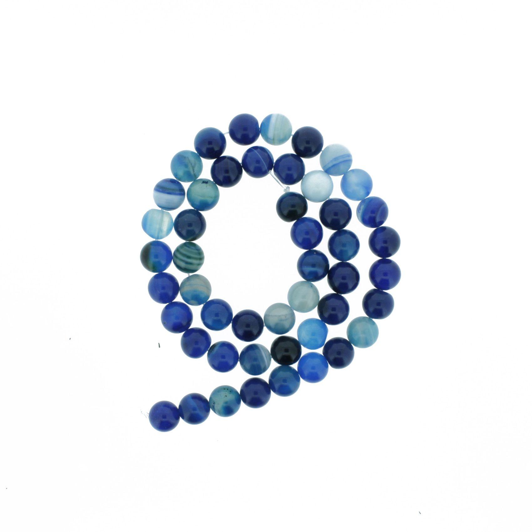 Fio de Pedra - Ágata Azul - 8mm  - Stéphanie Bijoux® - Peças para Bijuterias e Artesanato