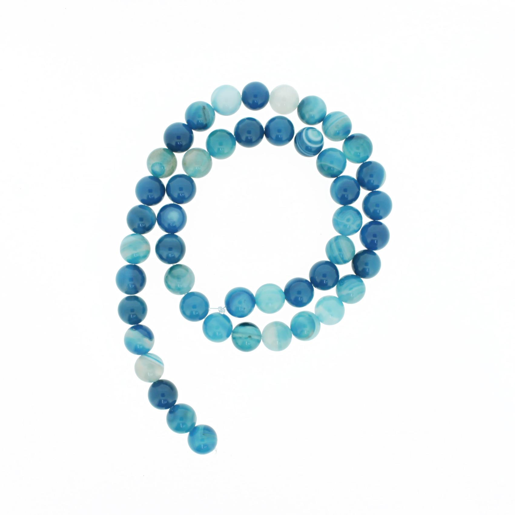 Fio de Pedra - Ágata Azul Claro - 8mm  - Stéphanie Bijoux® - Peças para Bijuterias e Artesanato