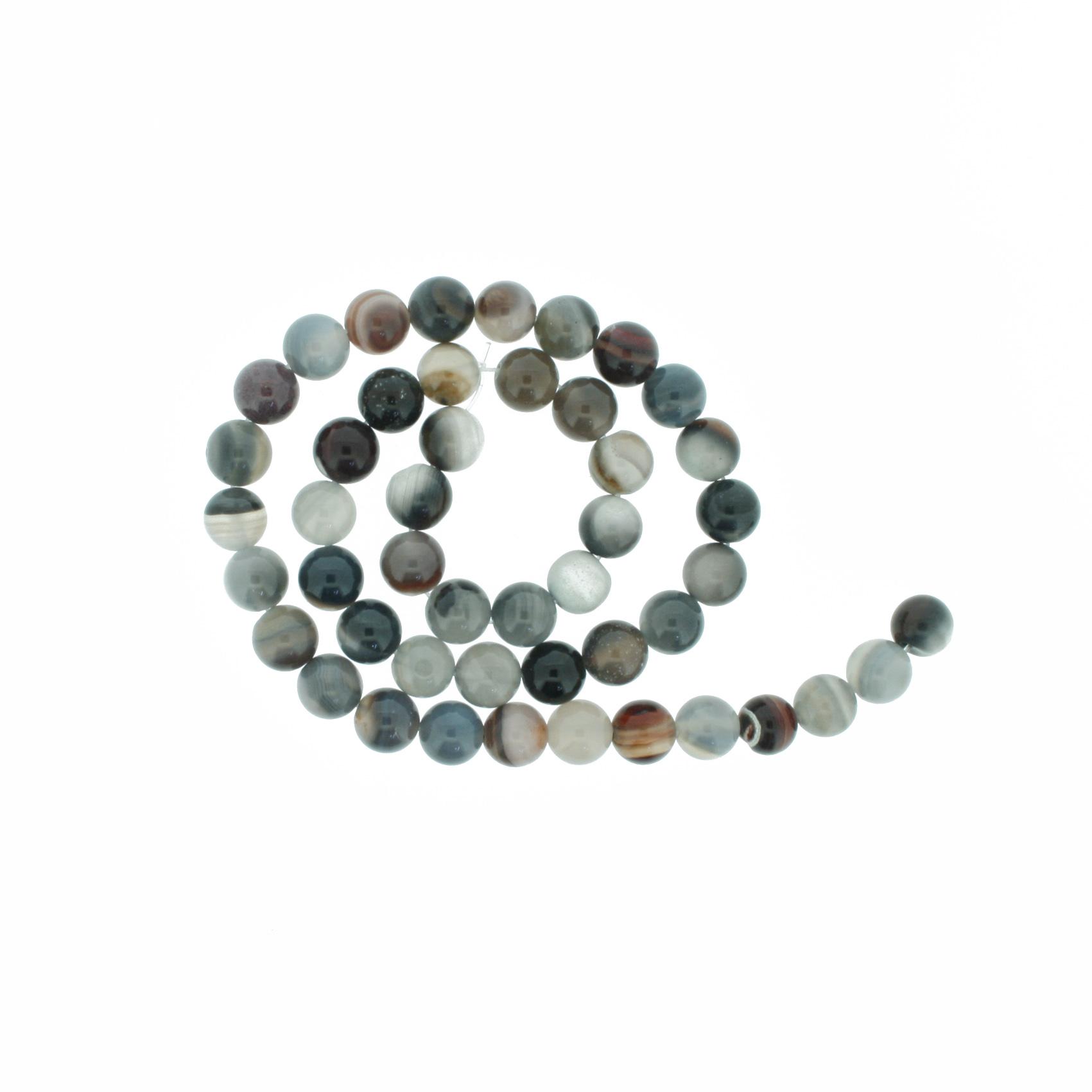 Fio de Pedra - Ágata Botswana - 8mm  - Stéphanie Bijoux® - Peças para Bijuterias e Artesanato
