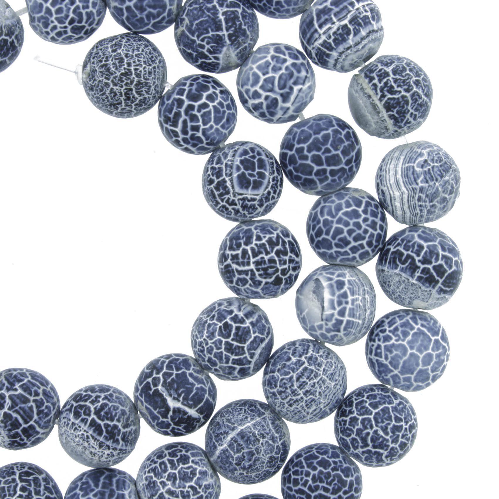 Fio de Pedra - Ágata Craquelada Azul - 8mm  - Stéphanie Bijoux® - Peças para Bijuterias e Artesanato